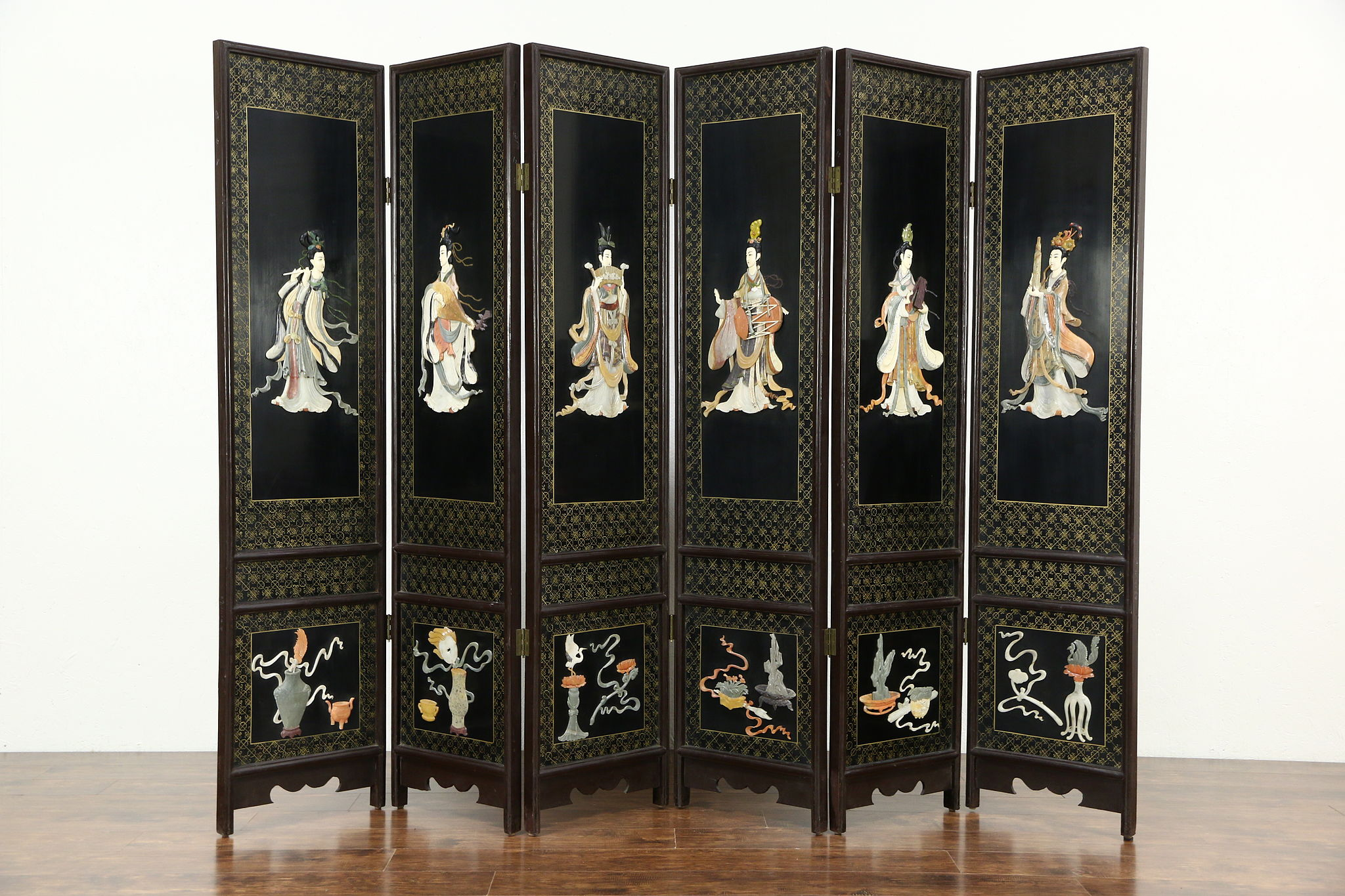 Chinese 6 Panel Carved Jade Stone Vintage Lacquer Screen