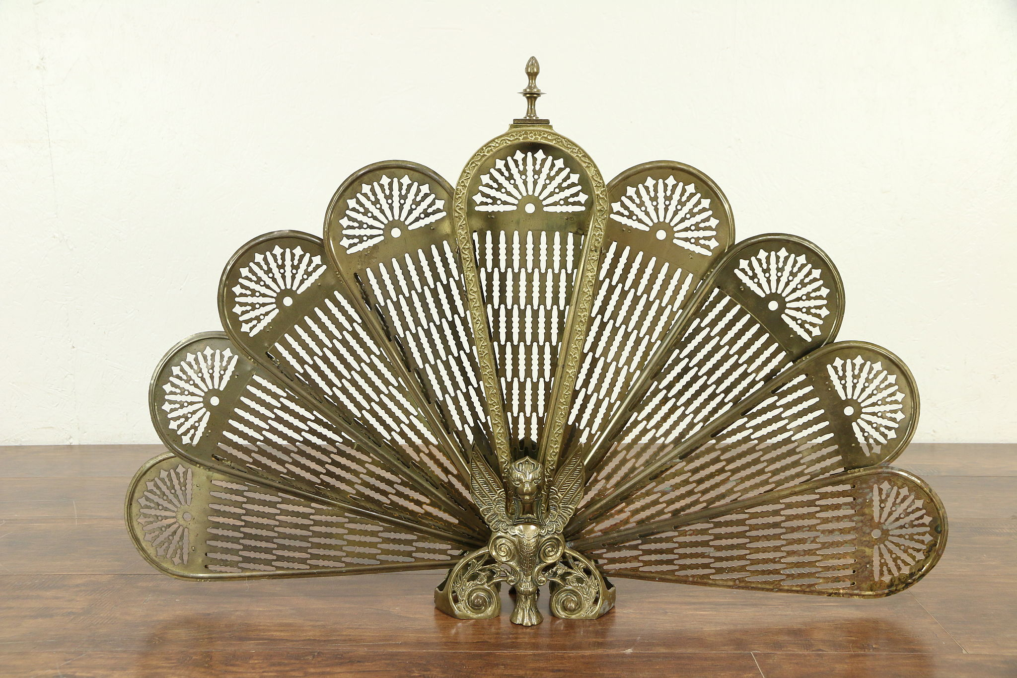 Sold Gargoyle Or Griffin Brass Peacock Fan Vintage Fireplace
