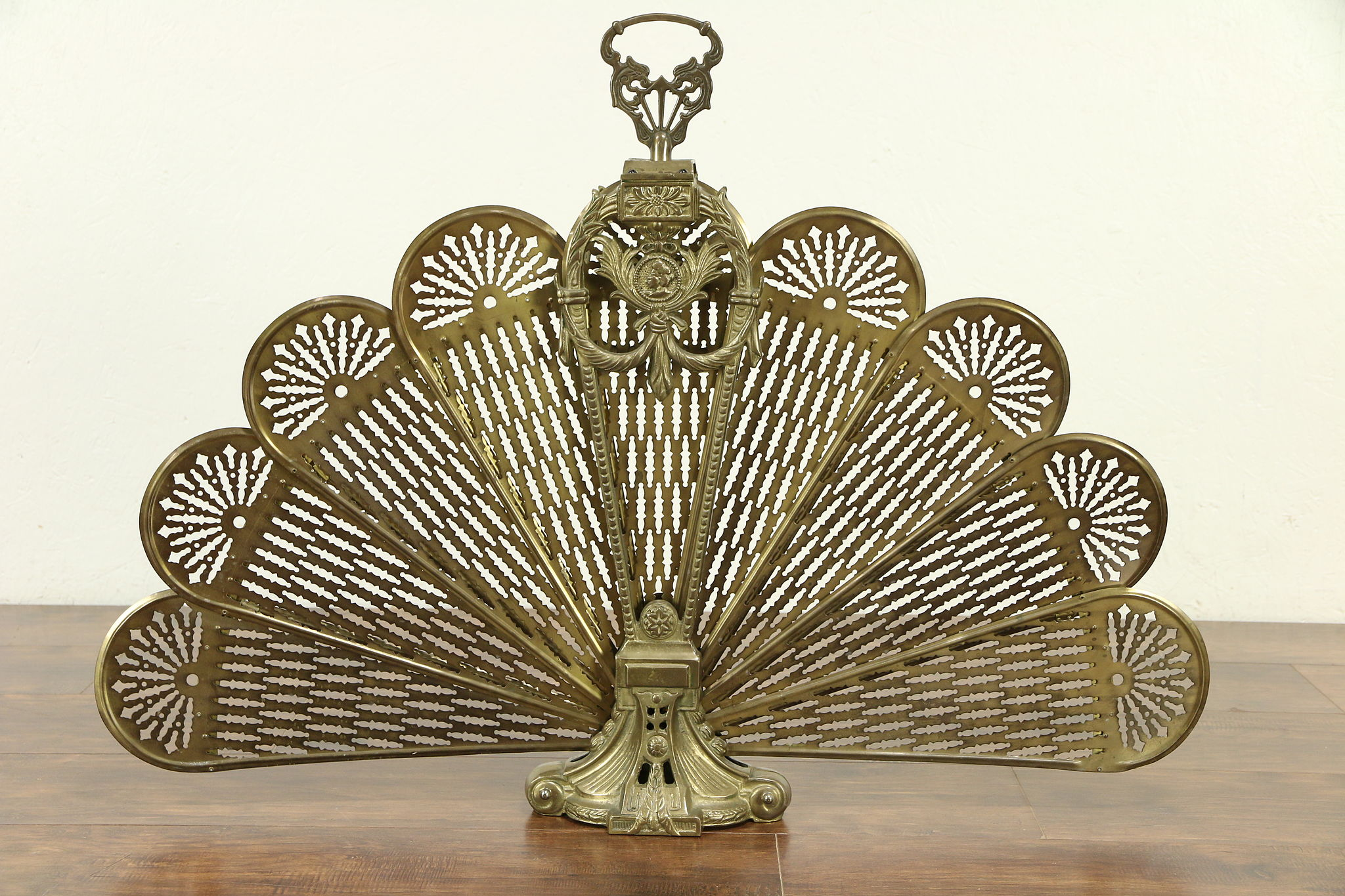 Sold Brass Peacock Fan Vintage Fireplace Screen With Face 29526
