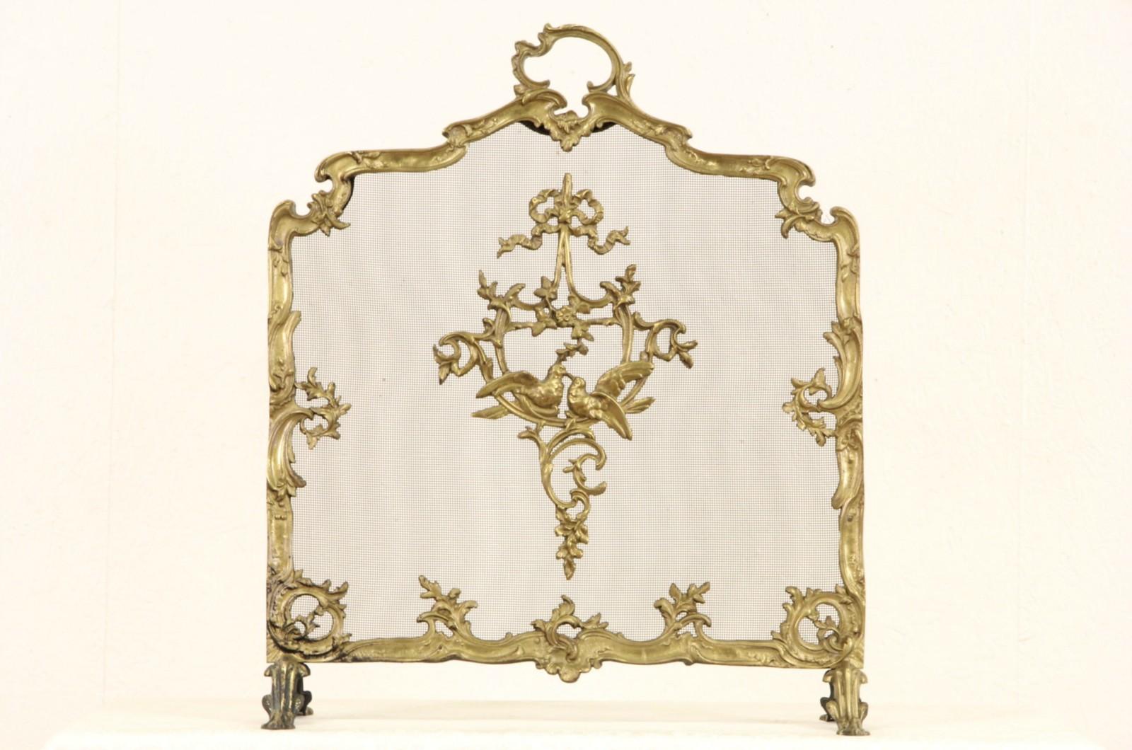 sold brass 1920 u0027s fireplace hearth screen with lovebirds harp