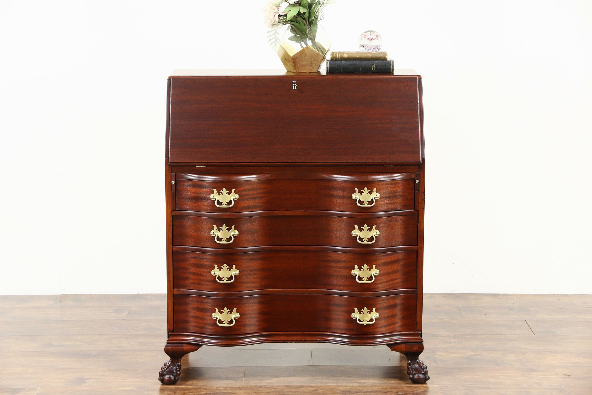 Famous SOLD - Secretary Desk, Mahogany 1930's Vintage Serpentine Drawers  KL72