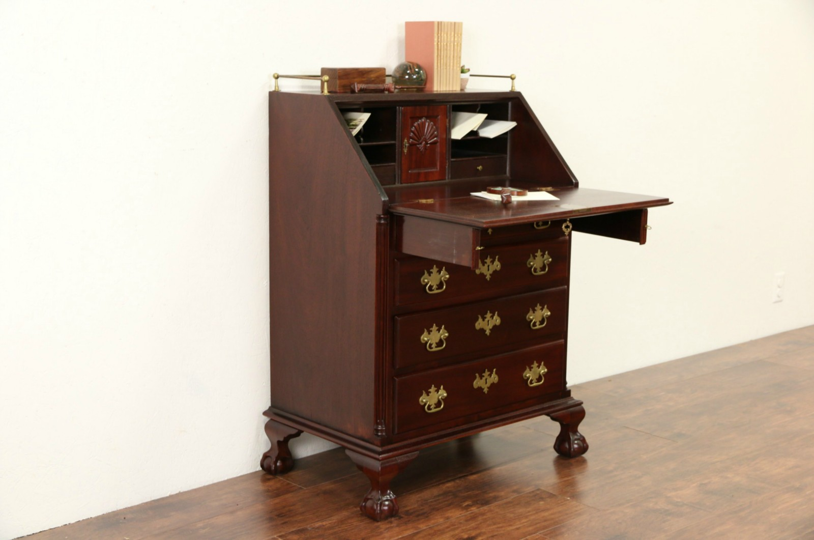 Traditional Gany Vintage Secretary Desk Carved Ss Ball Claw Feet