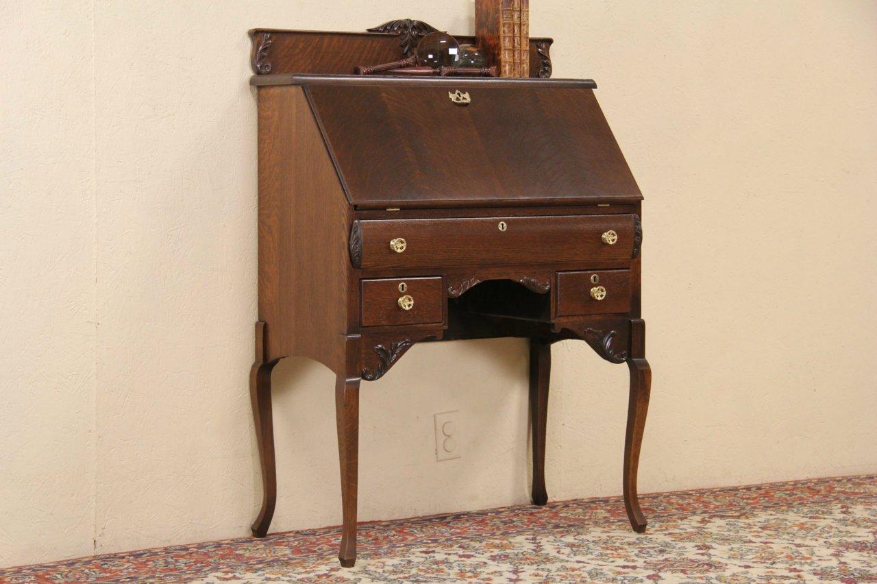 Victorian 1900 Antique Oak Secretary Desk - SOLD - Victorian 1900 Antique Oak Secretary Desk - Harp Gallery