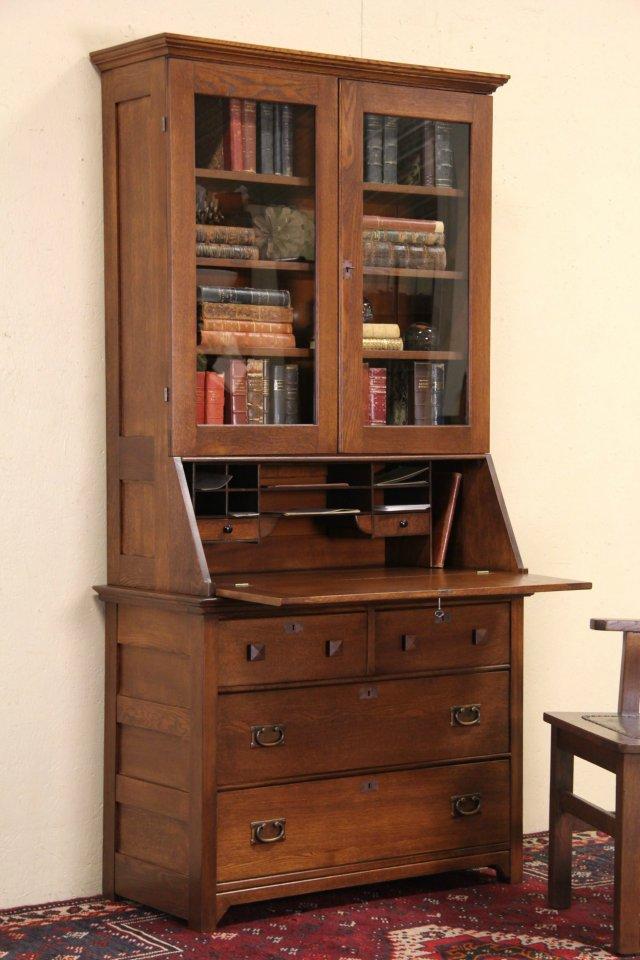 Oak 1900 Antique Secretary Desk & Bookcase, Glass Doors - SOLD - Oak 1900 Antique Secretary Desk & Bookcase, Glass Doors