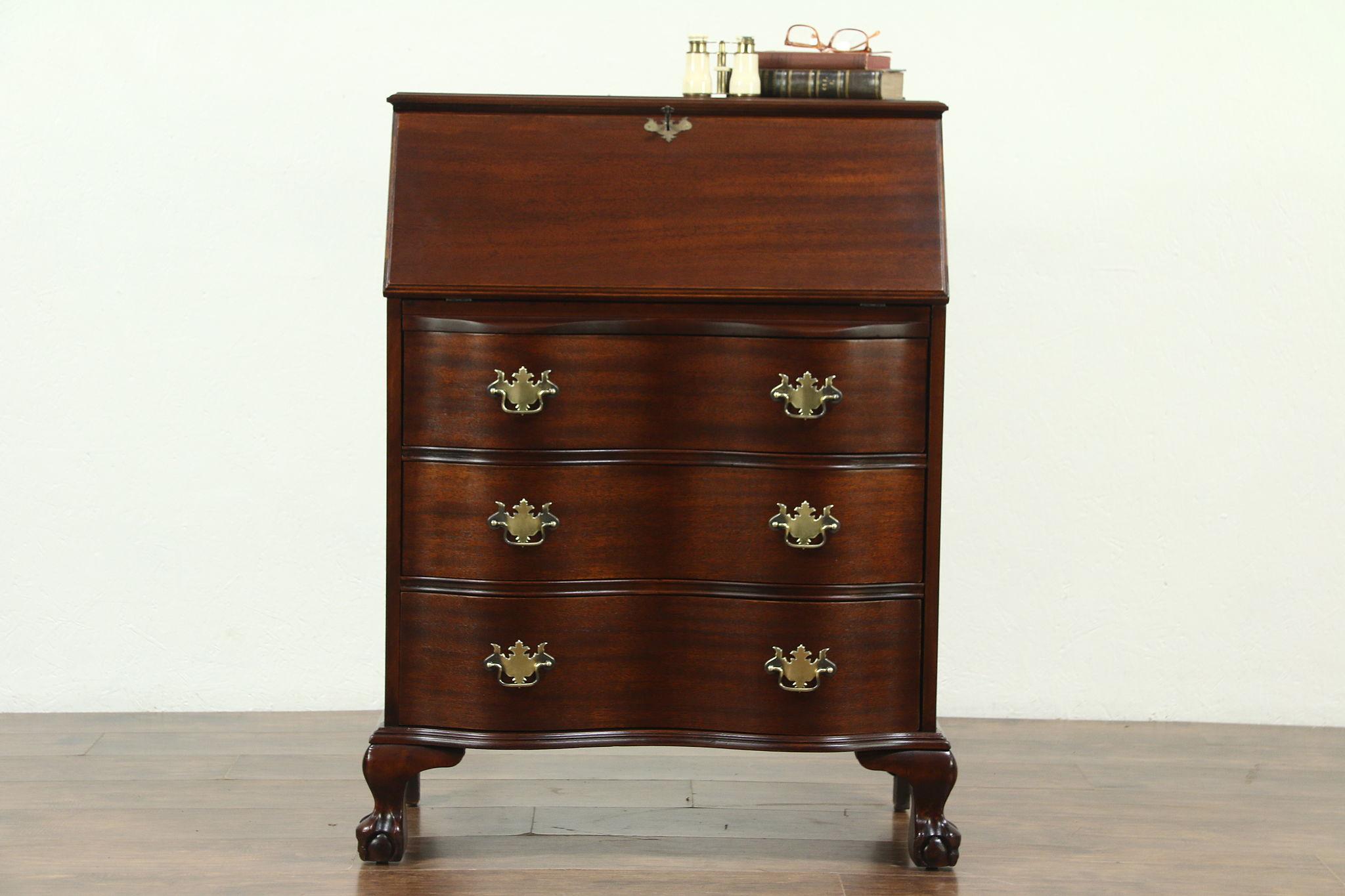 Traditional Georgian Style Gany Vintage Secretary Desk Claw Ball Feet