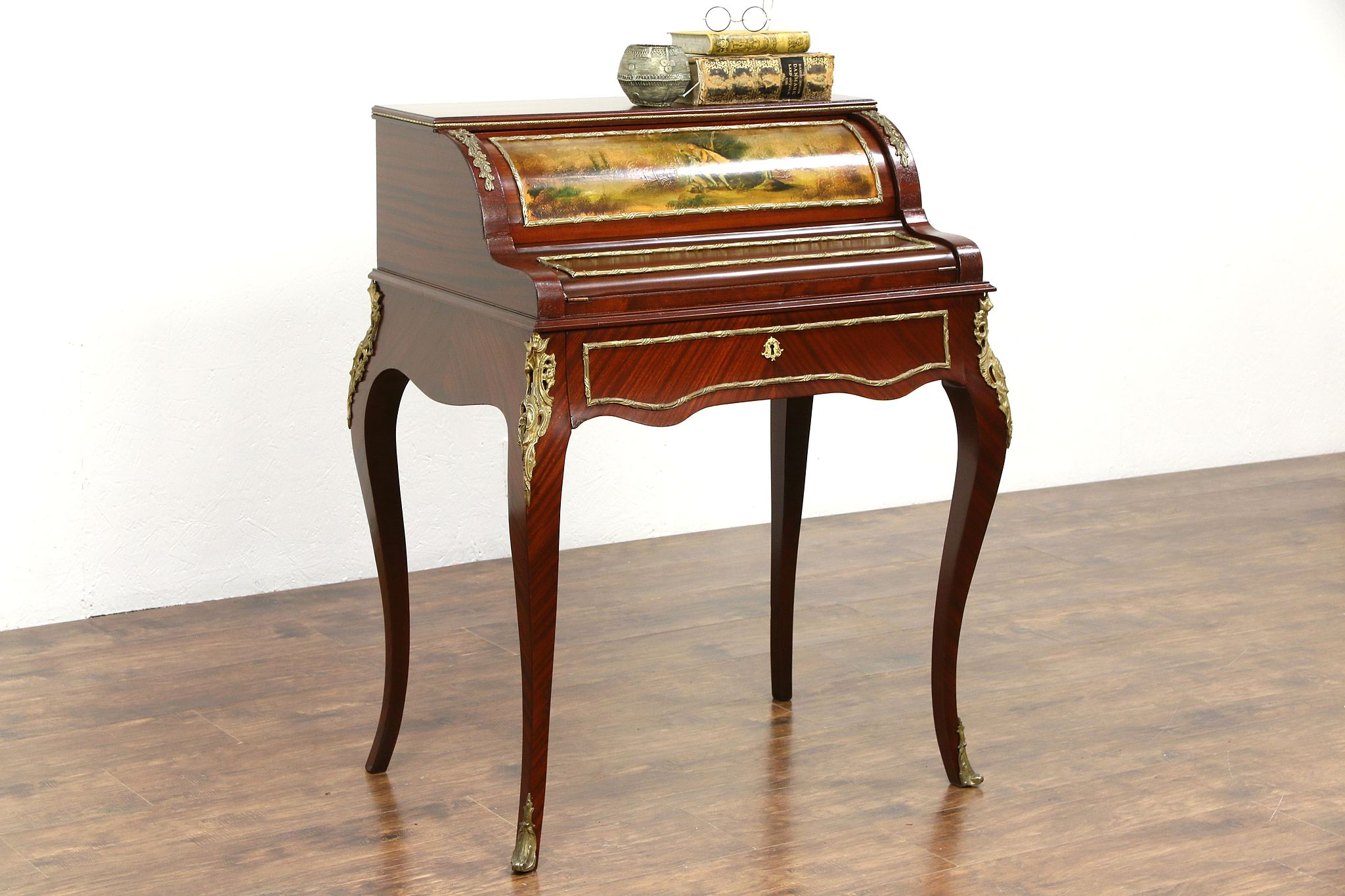 French Antique 39 Secretary Writing Desk, Hand Painted Roll Top