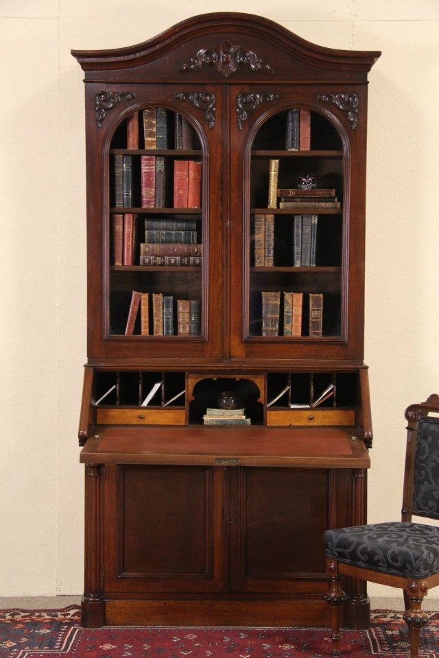 Victorian 1860 Antique Walnut Secretary Desk & Bookcase ... - SOLD - Victorian 1860 Antique Walnut Secretary Desk & Bookcase