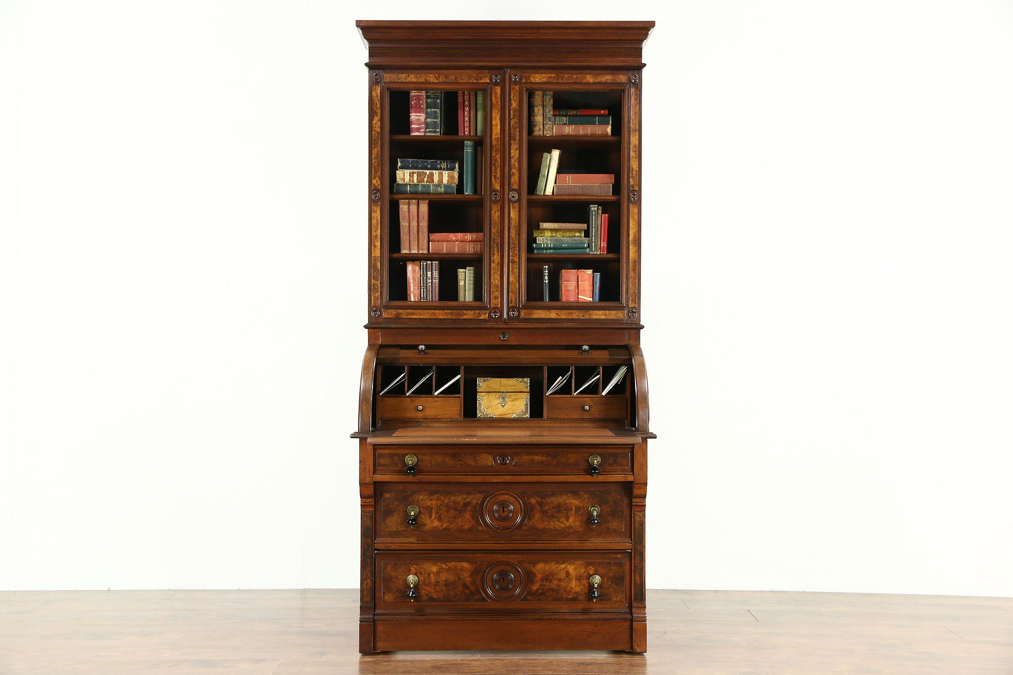 Victorian Renaissance Antique Walnut Cylinder Roll Top Secretary Desk Bookcase