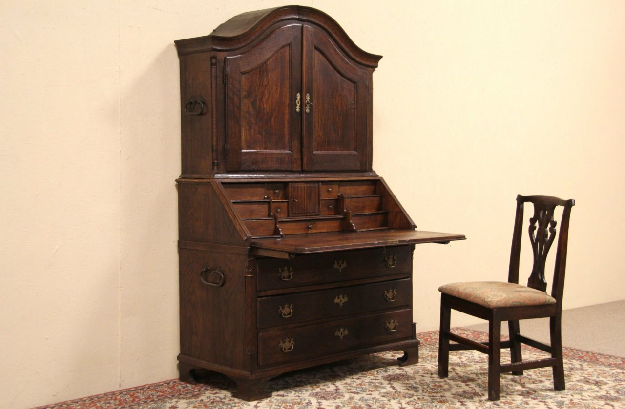 Sold Oak 1780 Antique Italian Secretary Desk Amp Bookcase Harp Gallery