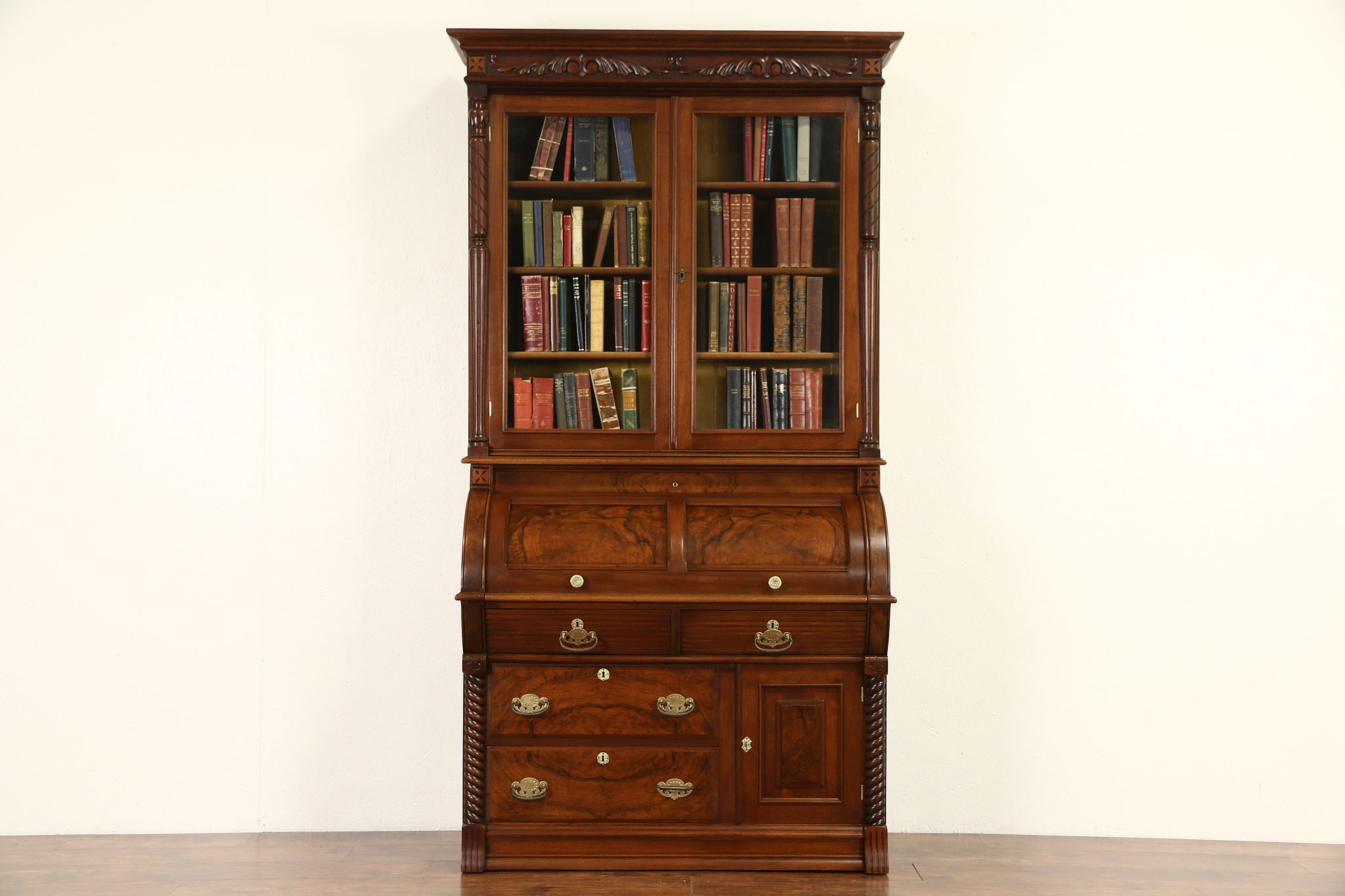Victorian 1890 Antique Walnut Cylinder Rolltop Secretary Desk Bookcase