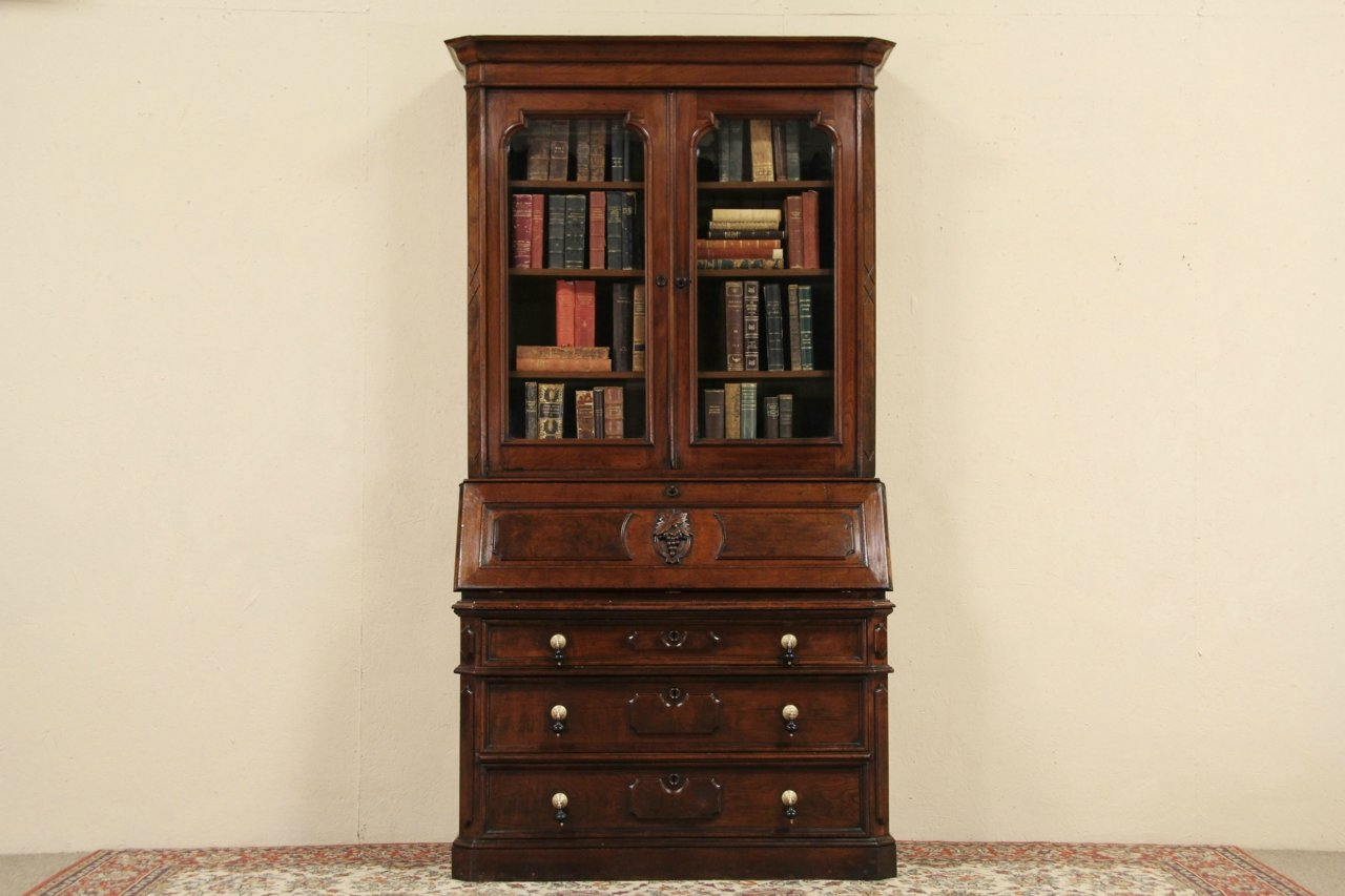 Victorian 1870 Antique Walnut Secretary Desk, Bookcase Top, Carved Grapes - SOLD - Victorian 1870 Antique Walnut Secretary Desk, Bookcase Top