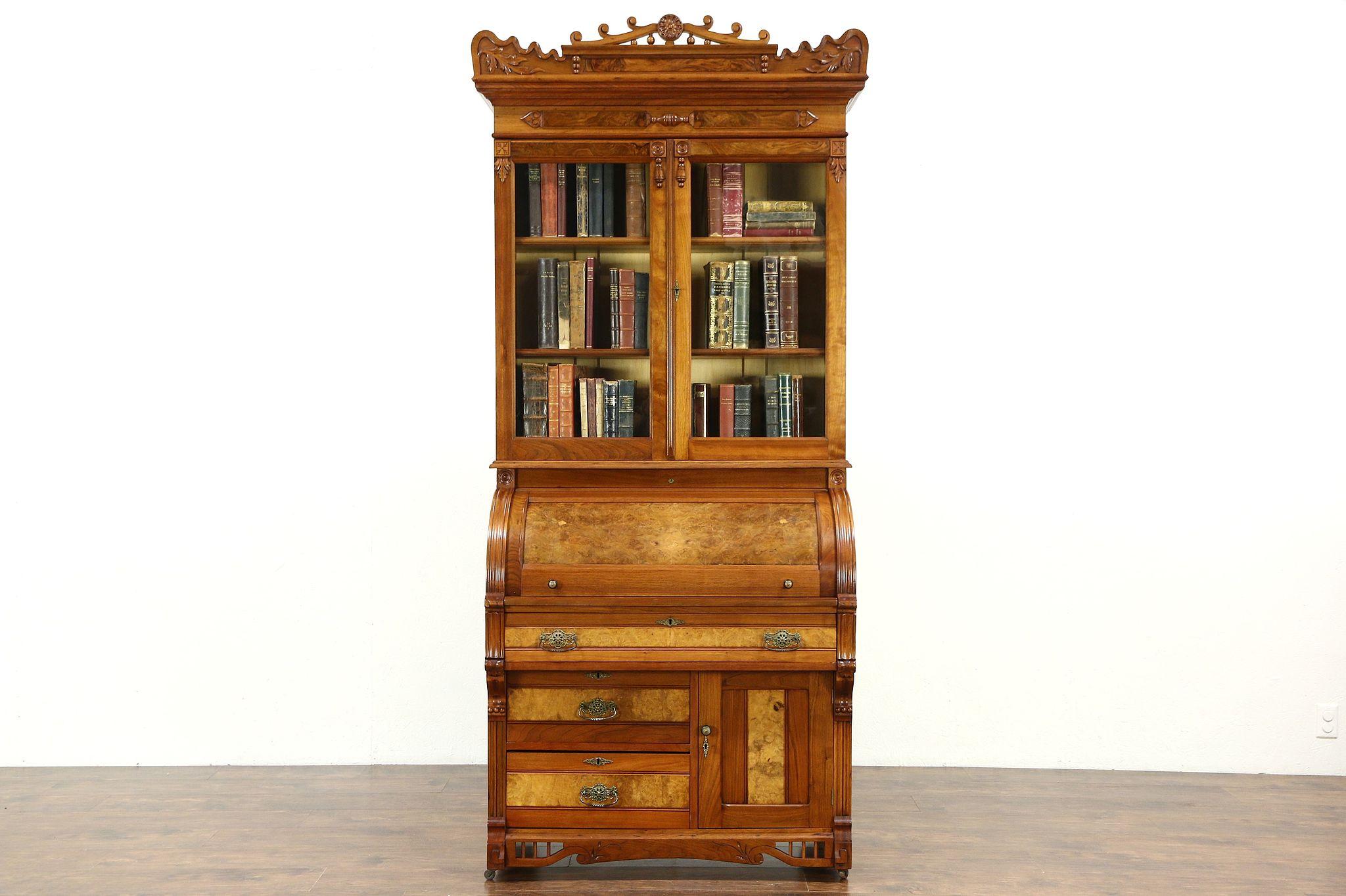 Victorian Eastlake 1885 Antique Cylinder Roll Top Secretary Desk Bookcase