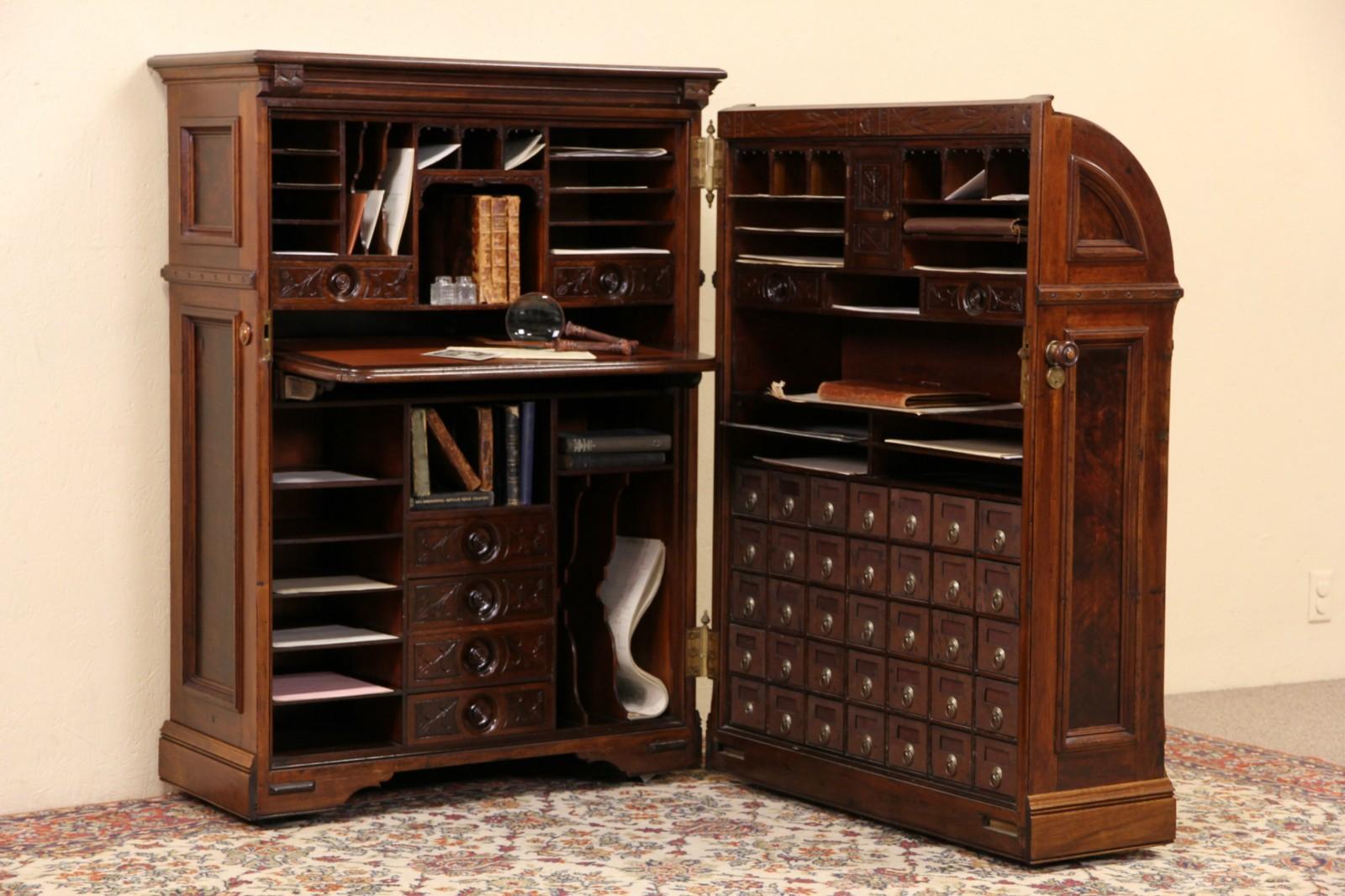 Sold Moore Victorian Antique Quot Office Queen Walnut Cabinet Desk Pat 1882 Harp Gallery