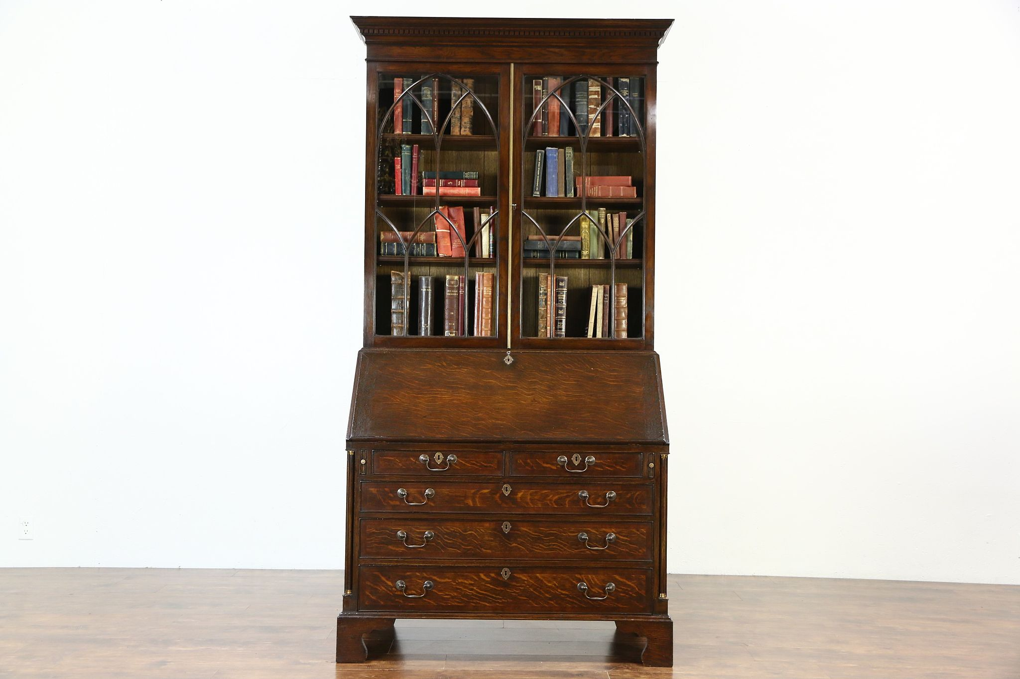 Oak English Vintage Secretary Desk Bookcase Secret Compartments