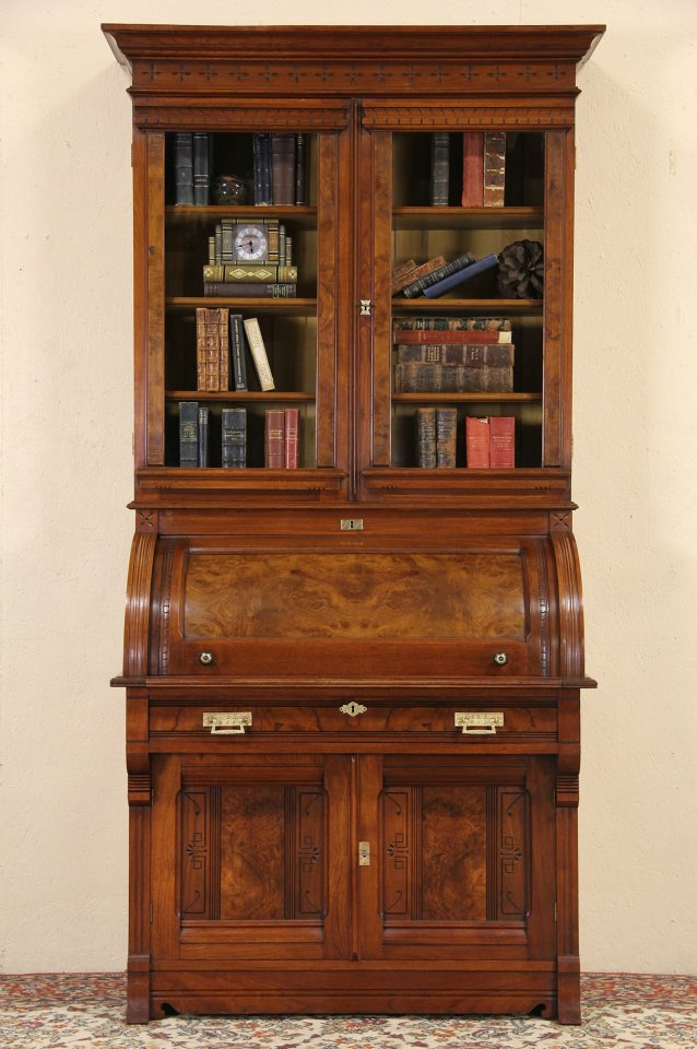 Sold Victorian Eastlake 1870 Cylinder Roll Top Secretary