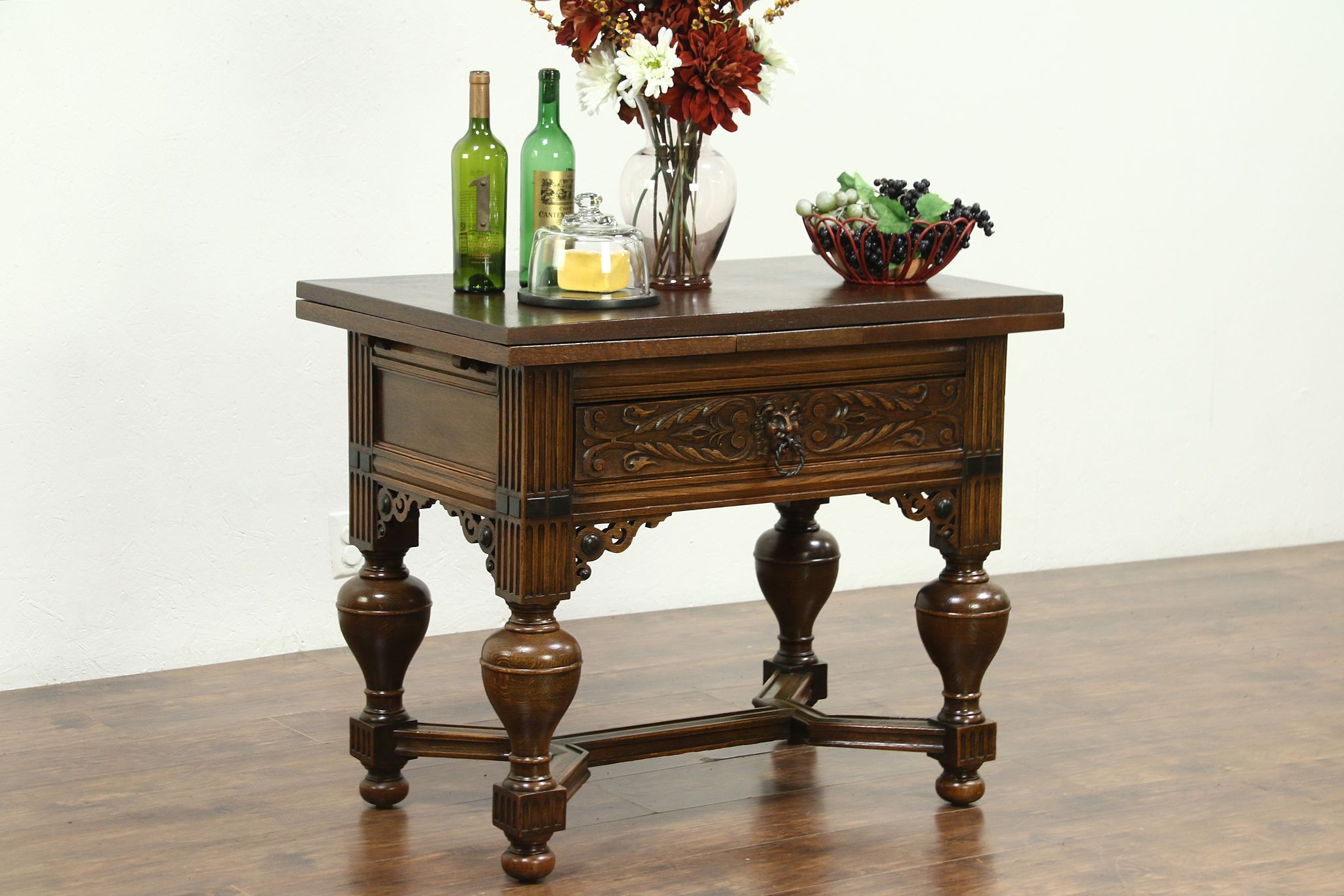 renaissance carved dutch antique oak server island or bar draw leaves 28878