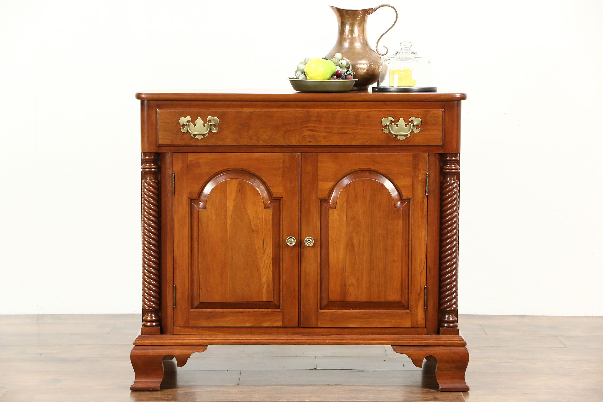 Cherry Small Vintage Sideboard, Server Or Console Cabinet, Signed Willett