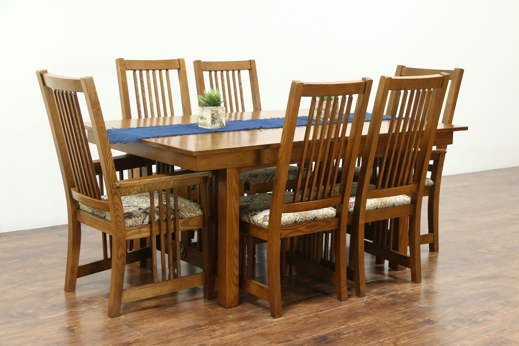 Prairie Or Craftsman Vintage Oak Dining Set, Table, 2 Leaves, 6 Chairs