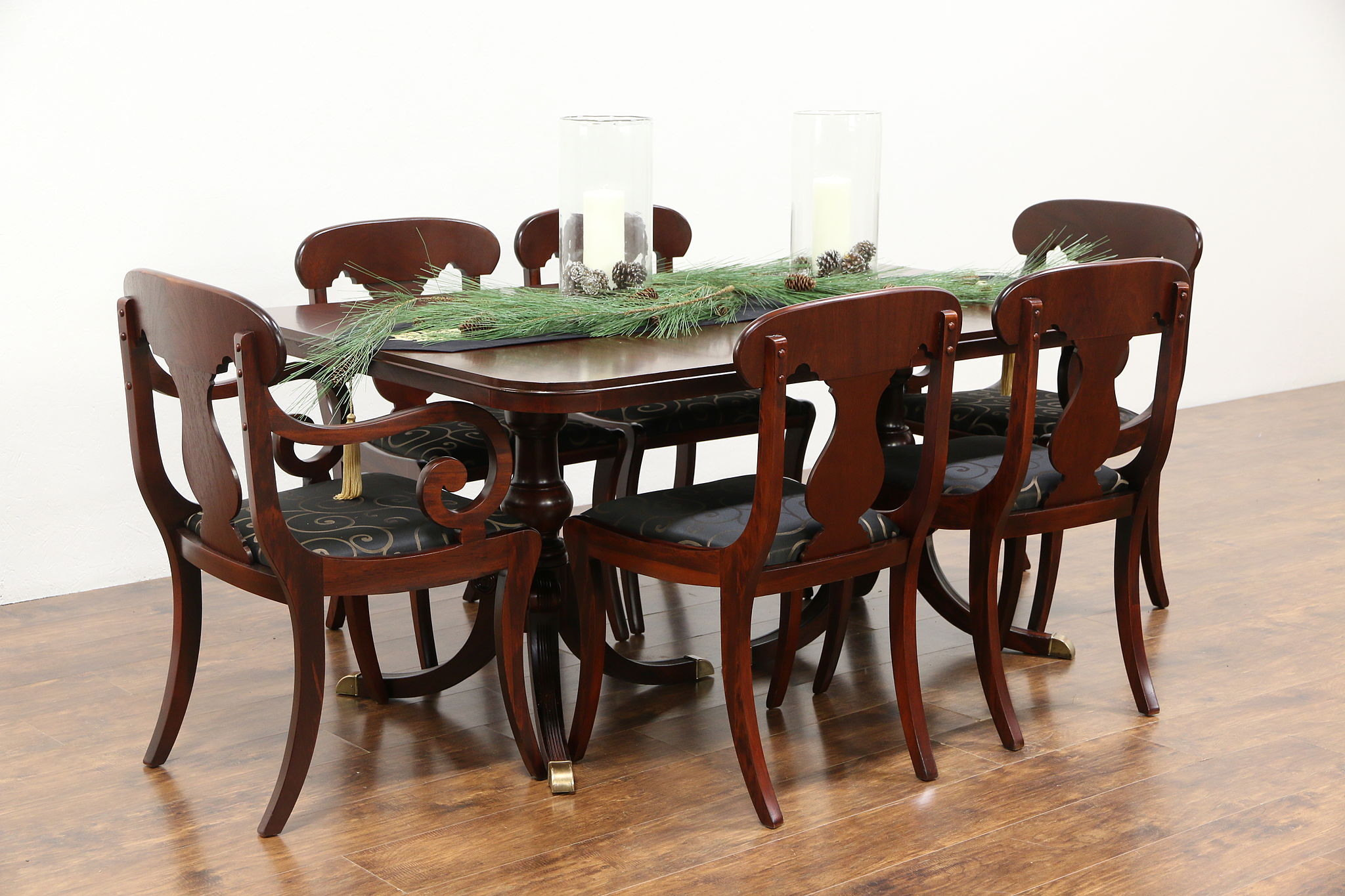 Mahogany Traditional Vintage Dining Set Table 3 Leaves 6 Chairs