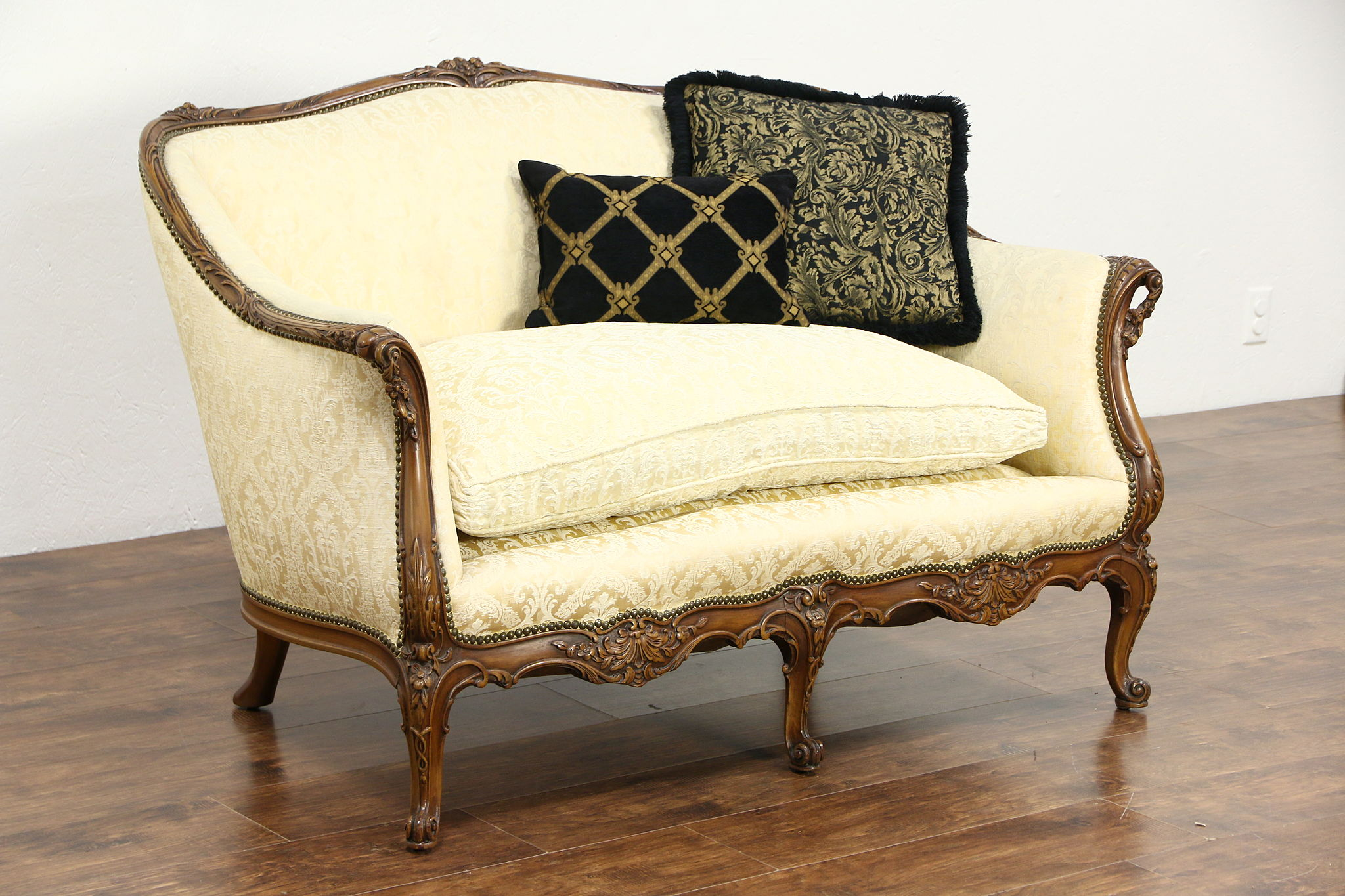 Sold french style carved vintage loveseat or setee down cushion recent upholstery harp Antique loveseat styles