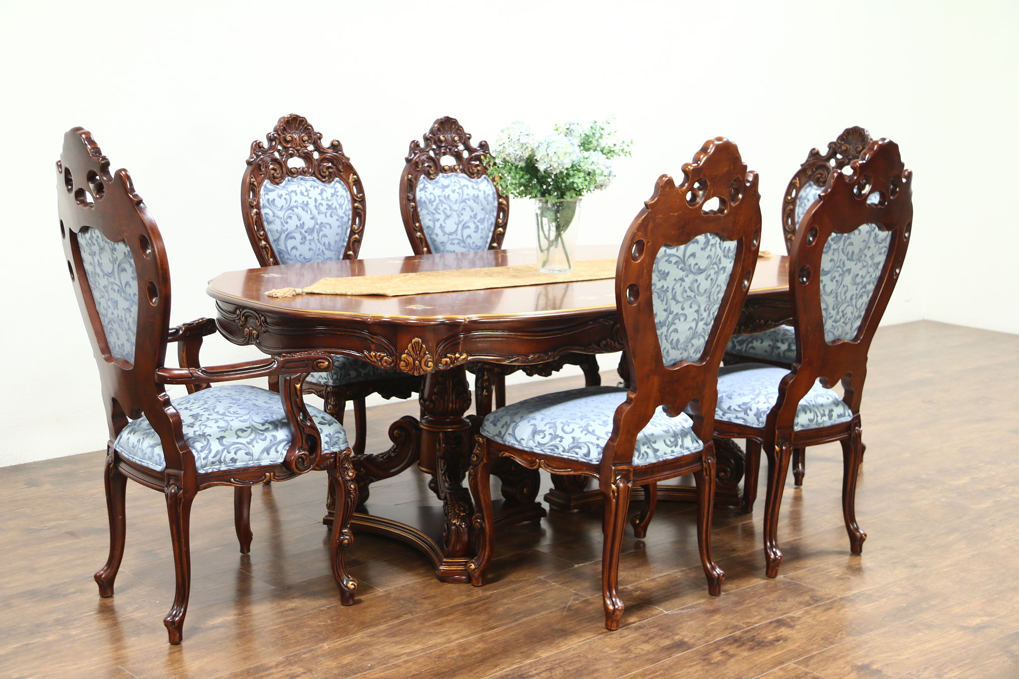Baroque Carved Cherry Vintage Dining Set Table 6 Chairs Signed Montalban Photo