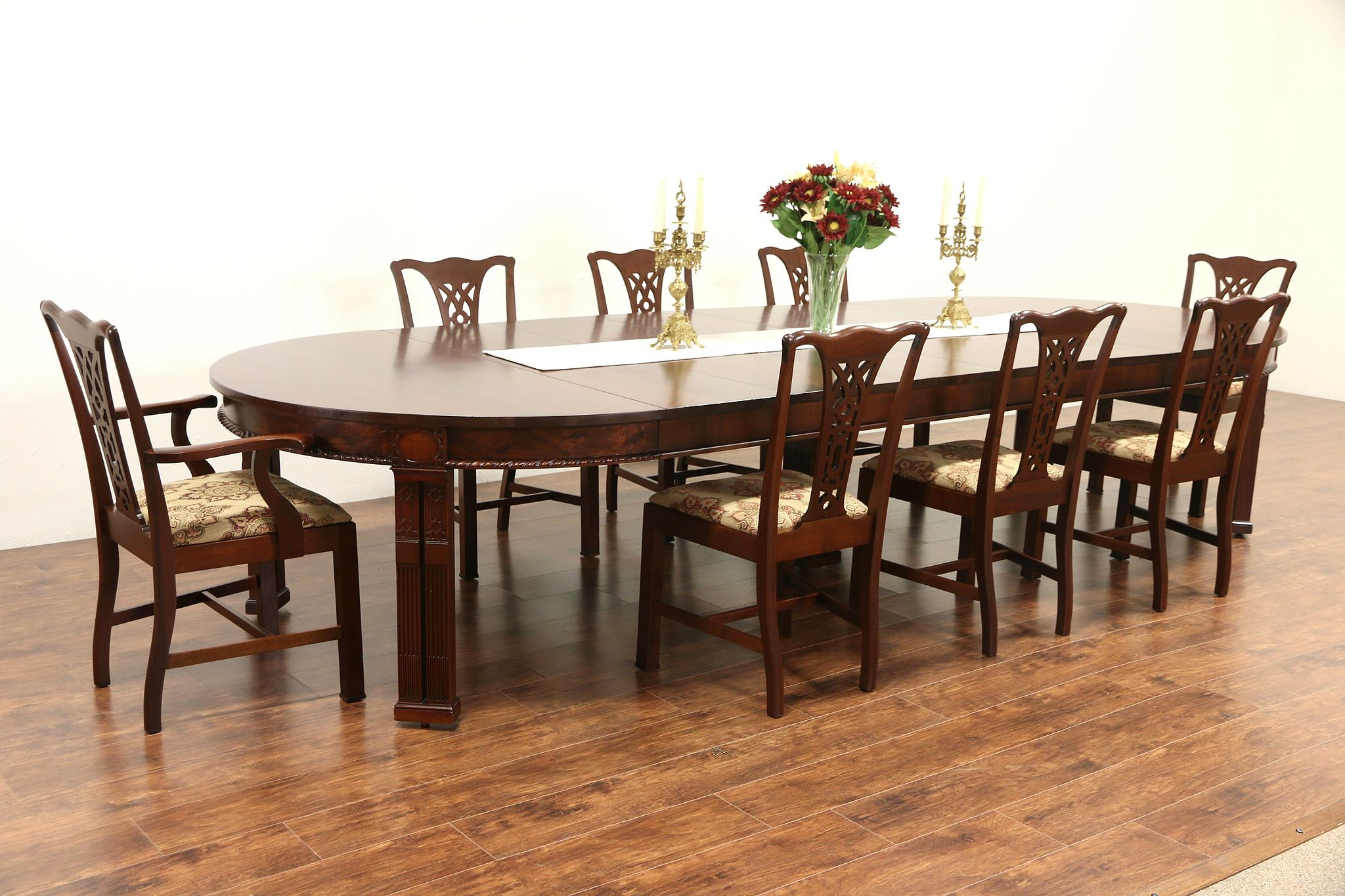 Sold Georgian 1915 Antique Mahogany Dining Set 5 Table Extends 12 1 2 8 Chairs Harp Gallery Antiques Furniture