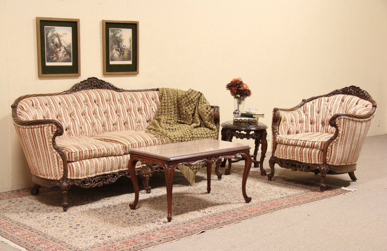 Swell Shell Carved 1930S Tufted Vintage Sofa Armchair Set Ncnpc Chair Design For Home Ncnpcorg