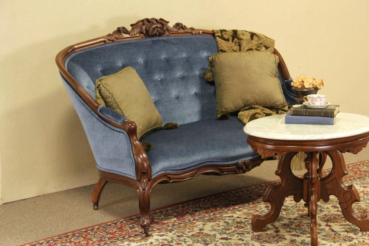 Antique velvet chair - Victorian Carved Walnut 1870 Antique Velvet Loveseat