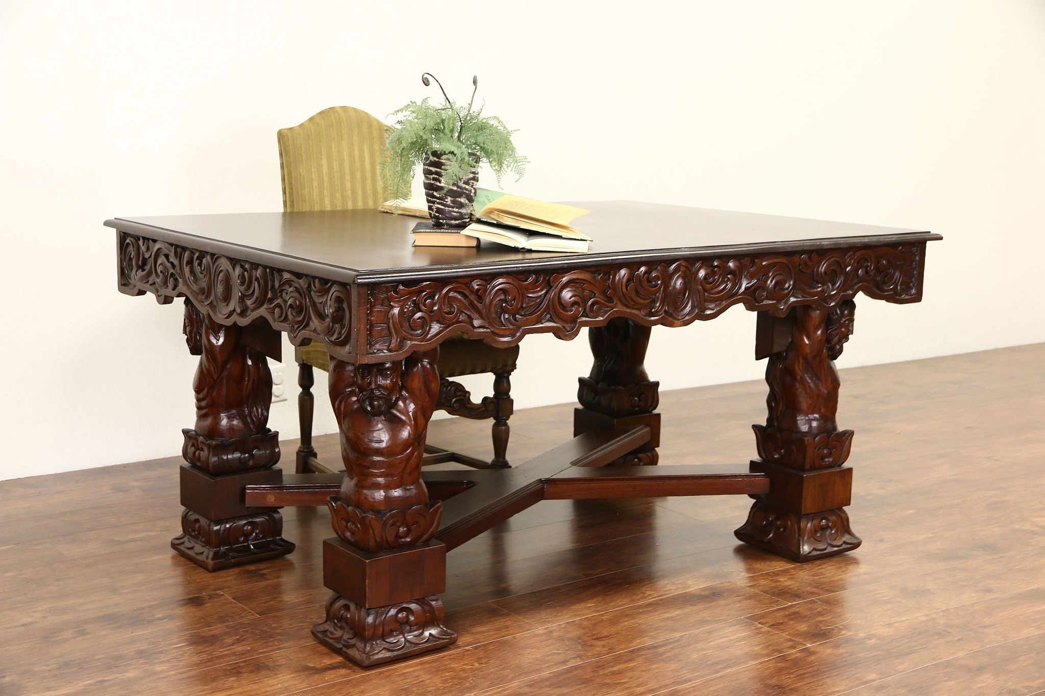 Photo 1 Italian Renaissance Carved 1900 Antique Writing Desk, Dining Or Library  Table ...