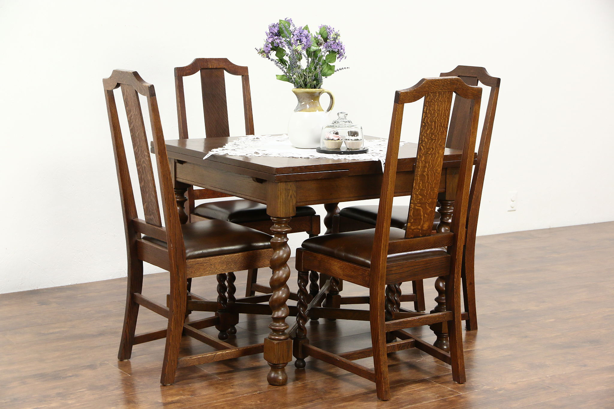 Astonishing Oak 1920 Antique Game Dining Breakfast Kitchen Set 4 Leather Chairs England Pdpeps Interior Chair Design Pdpepsorg