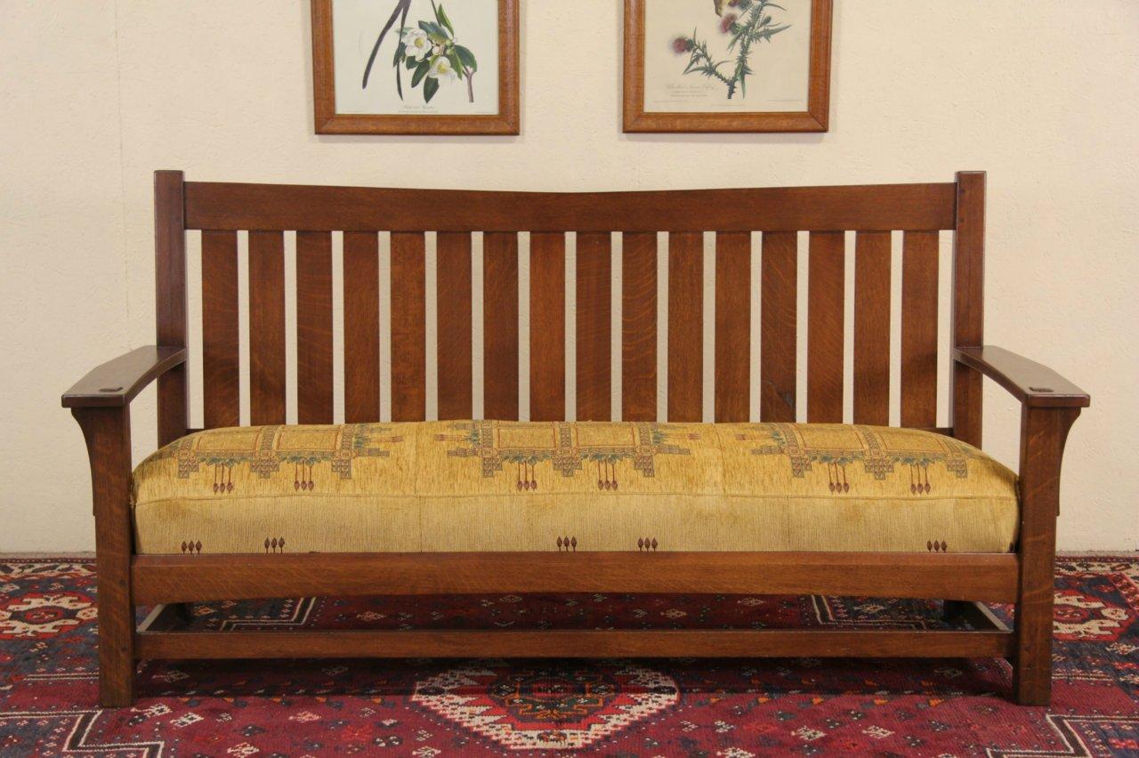 Arts Crafts Mission Oak Antique 1905 Settle Sofa Or Bench Upholstered