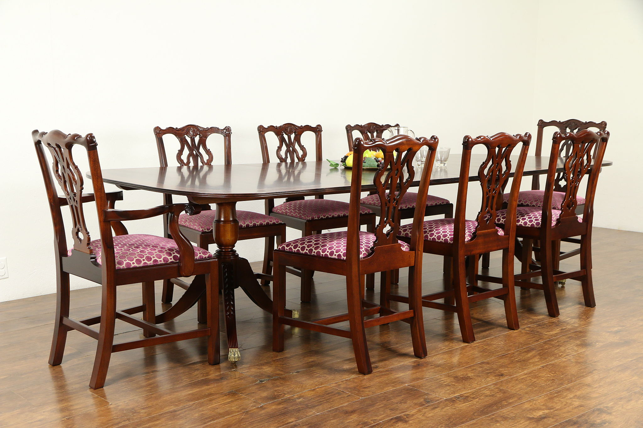Sold Georgian Design Vintage Dining Set Banded 10 Table 8 Chairs 32071 Harp Gallery Antiques Furniture