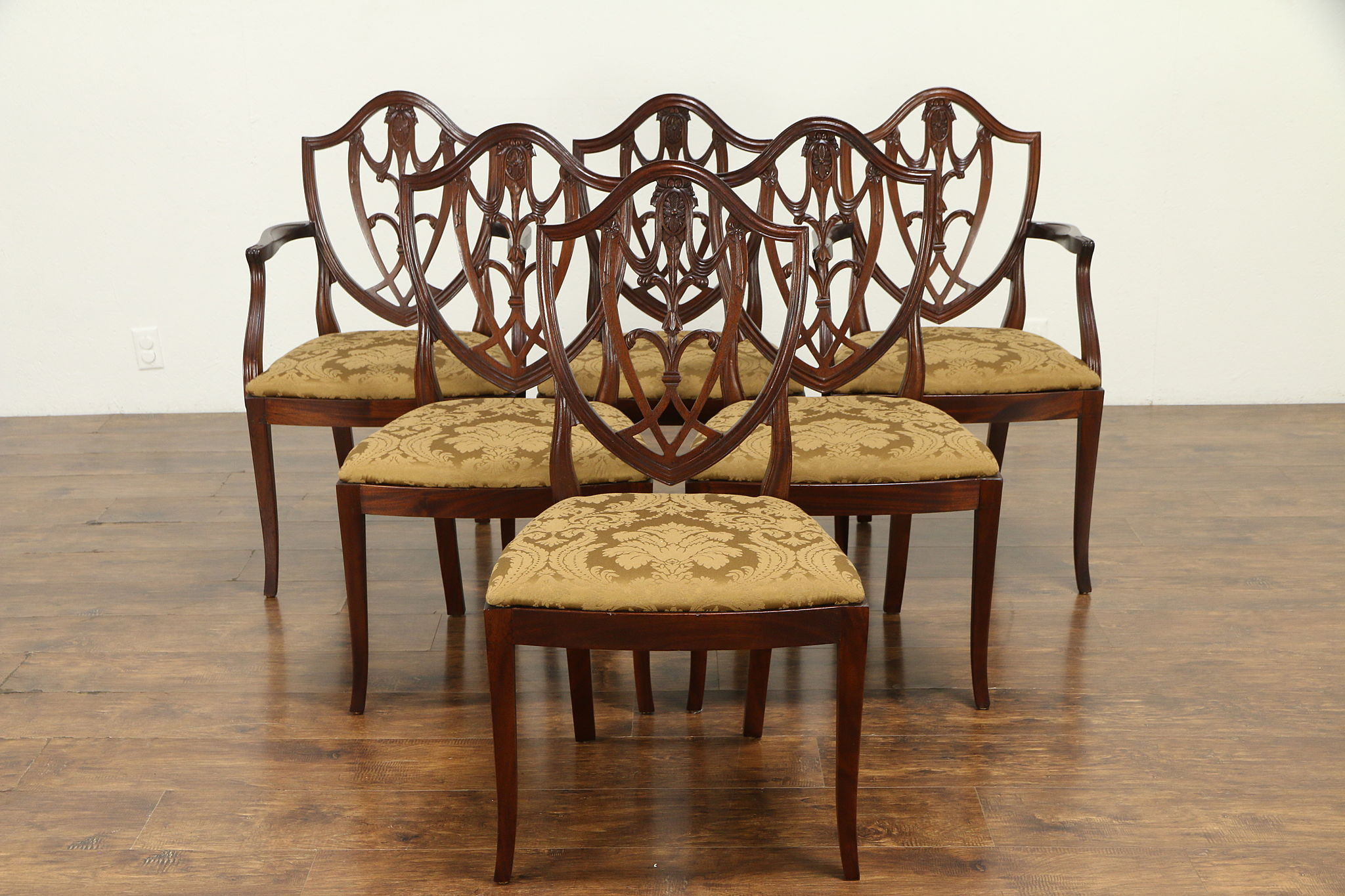 6 Vintage Shield Back Dining Chairs
