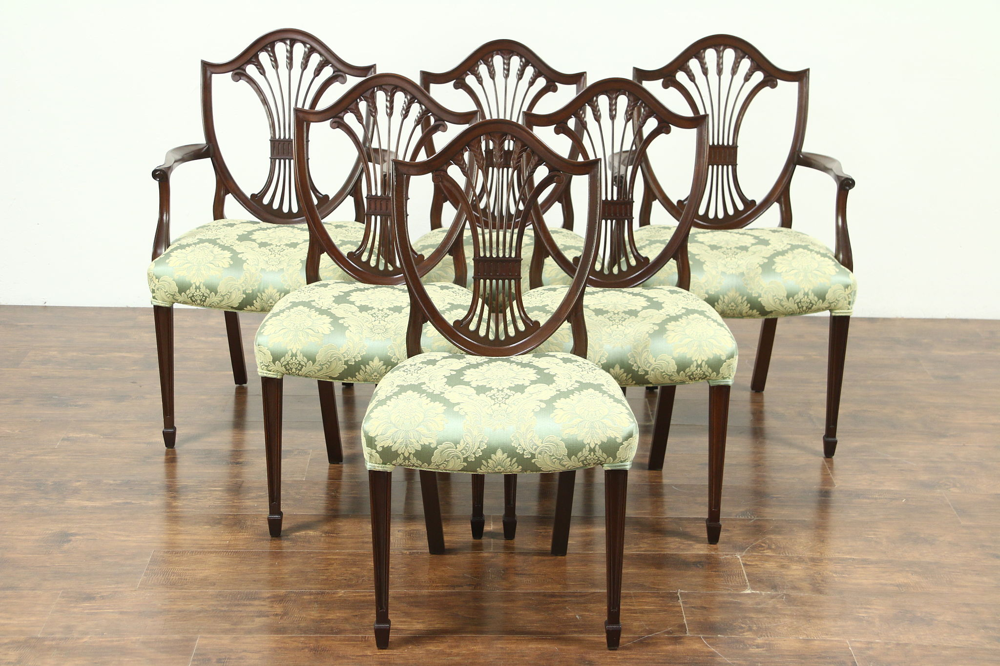 SOLD - Set of 6 Georgian Design Shield Back Vintage Dining Chairs ...