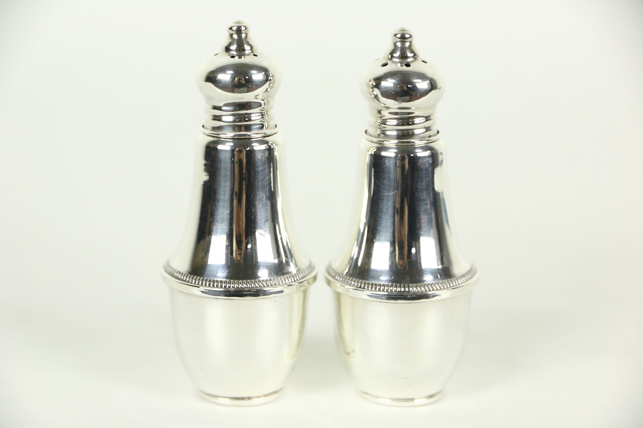 Sterling Silver Weighted Pair Salt Pepper Shakers Signed Duchin Creation