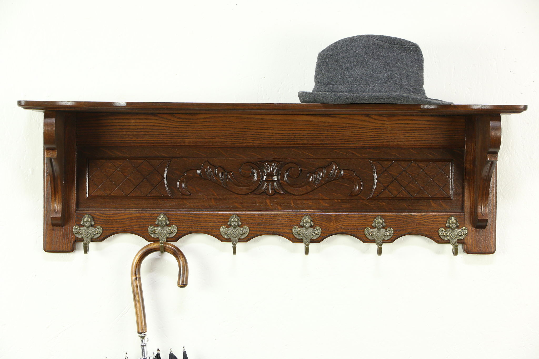 Sold Dutch Carved Oak Vintage Wall Shelf Face Coat Hat Or Key Hooks Harp Gallery