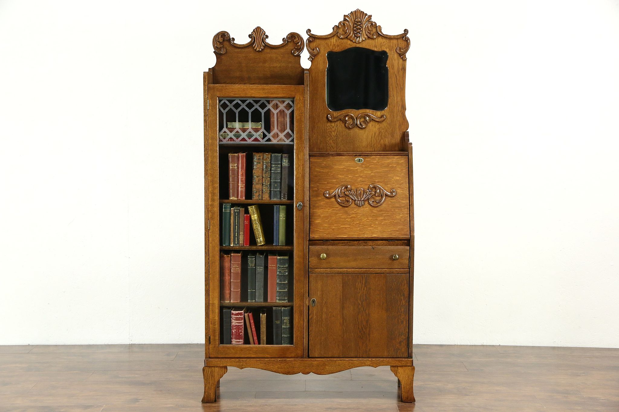 Victorian Oak Antique Side By Secretary Desk Bookcase Beveled Mirror