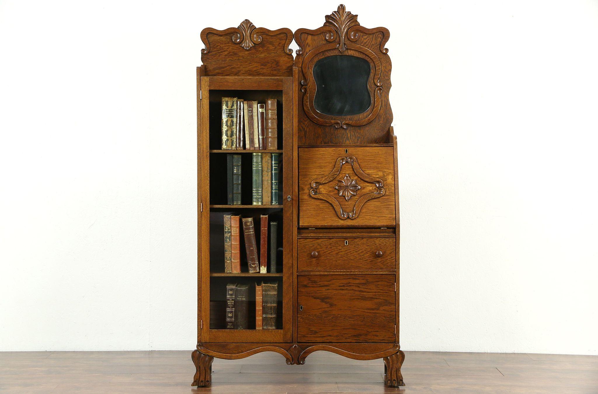 Sold Victorian Antique 1900 Carved Oak Side By Side