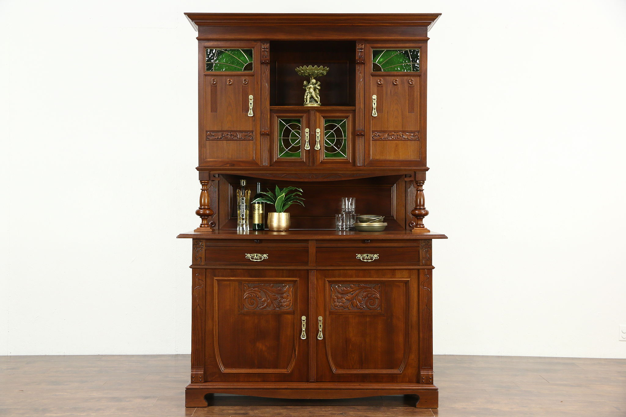 Austrian 1900 Antique Art Nouveau Sideboard, Server U0026 China Cabinet, Back  Bar