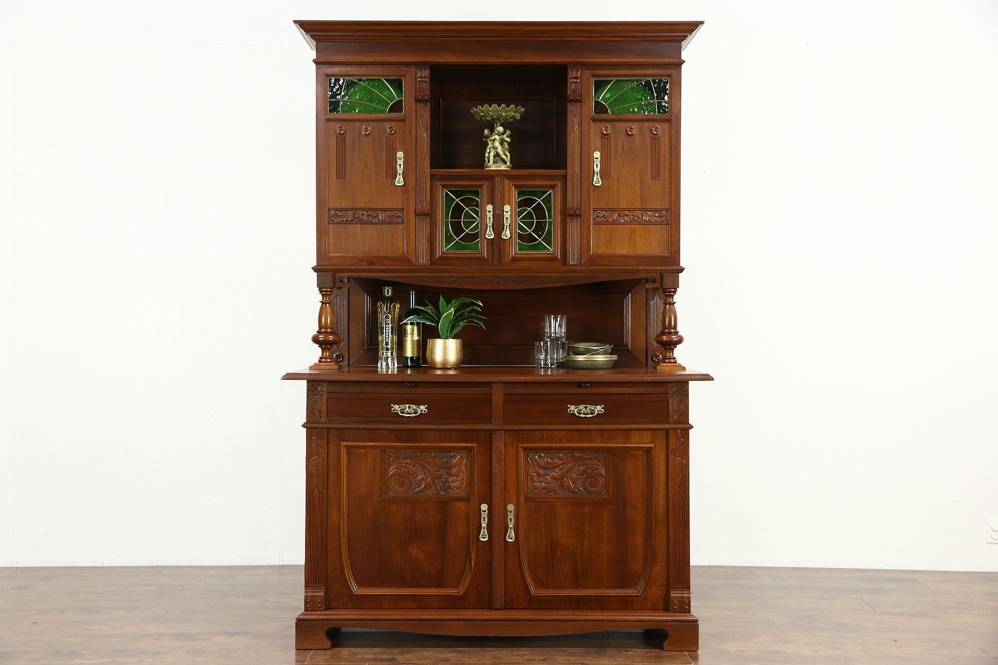 Sold Austrian 1900 Antique Art Nouveau Sideboard Server China Cabinet Back Bar Harp