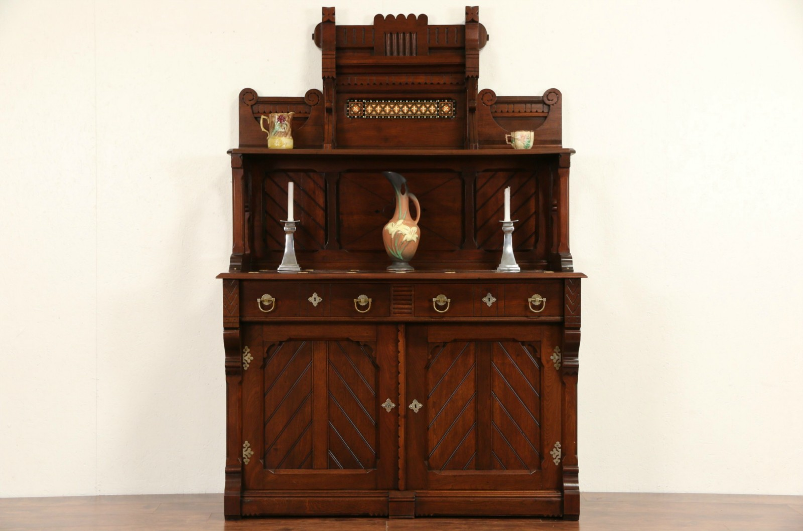 Sold English Arts Crafts 1890 S Antique Sideboard Server Walnut