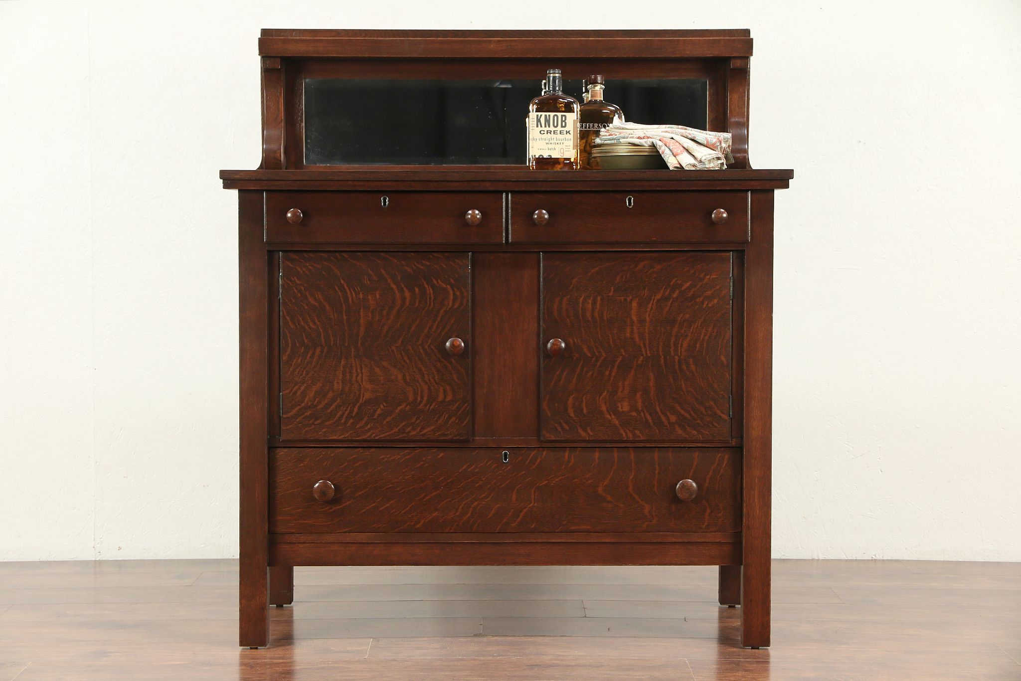 Picture of: Sold Oak Antique Craftsman Sideboard Server Or Buffet Beveled Mirror 29698 Harp Gallery Antiques Furniture