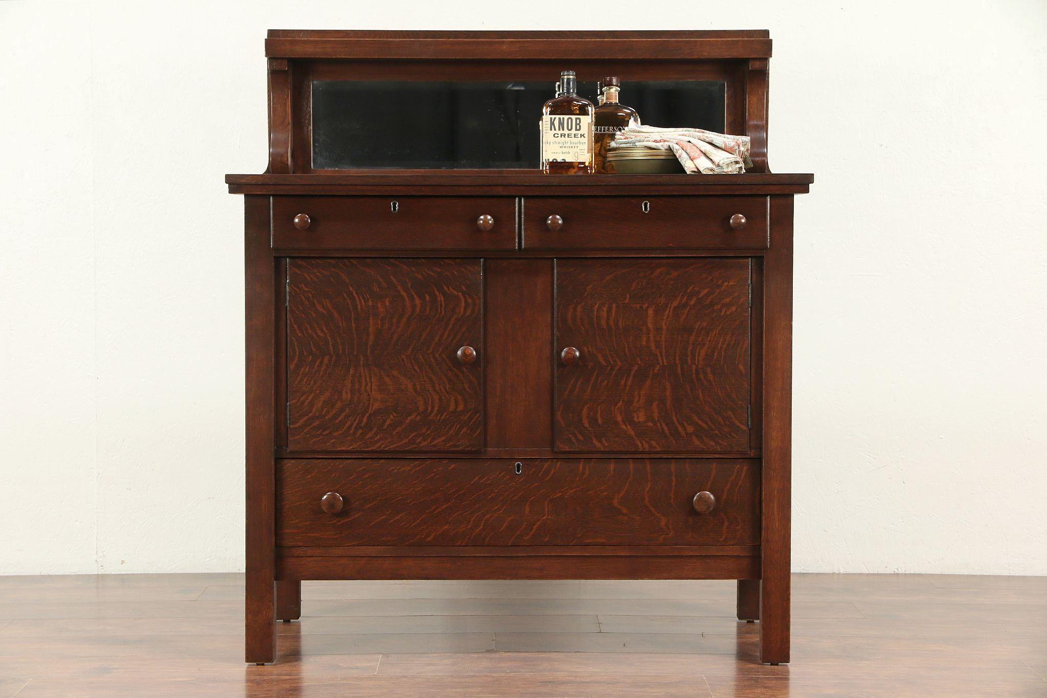 Oak Antique Craftsman Sideboard Server Or Buffet Beveled Mirror 29698