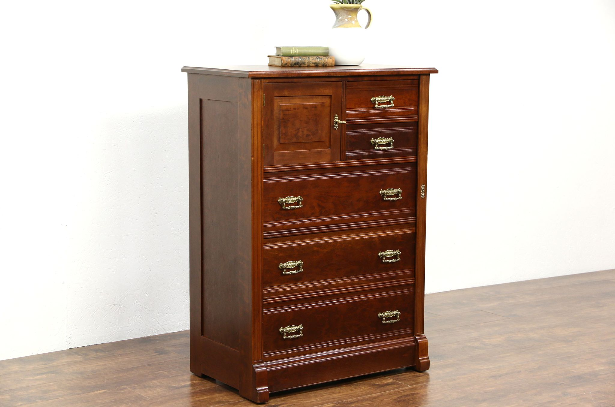 Attractive SOLD - Victorian Eastlake Antique 1880 Cherry Side Lock Tall Chest  GK52