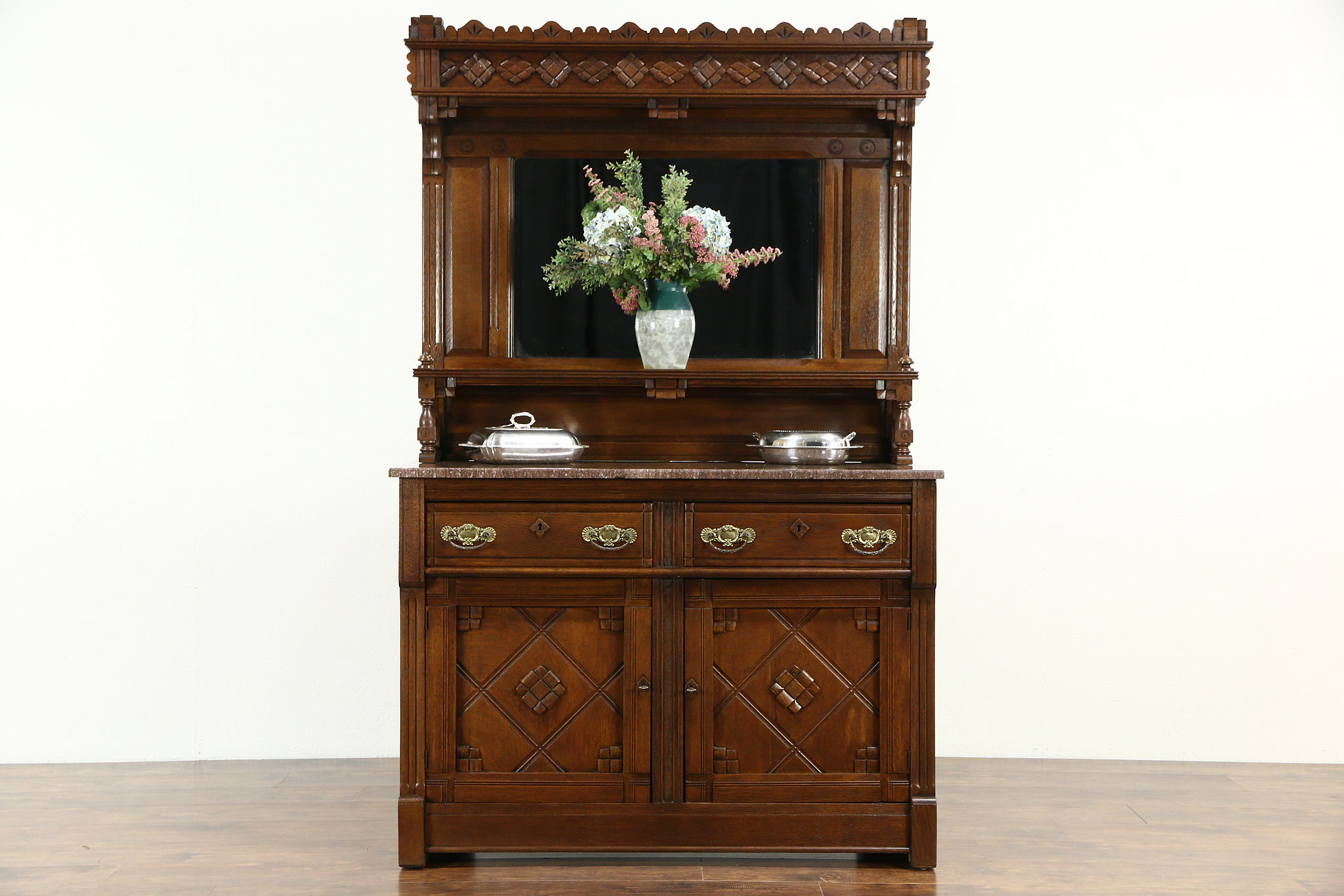 Sold Eastlake Oak 1880 S Antique Sideboard Server Or