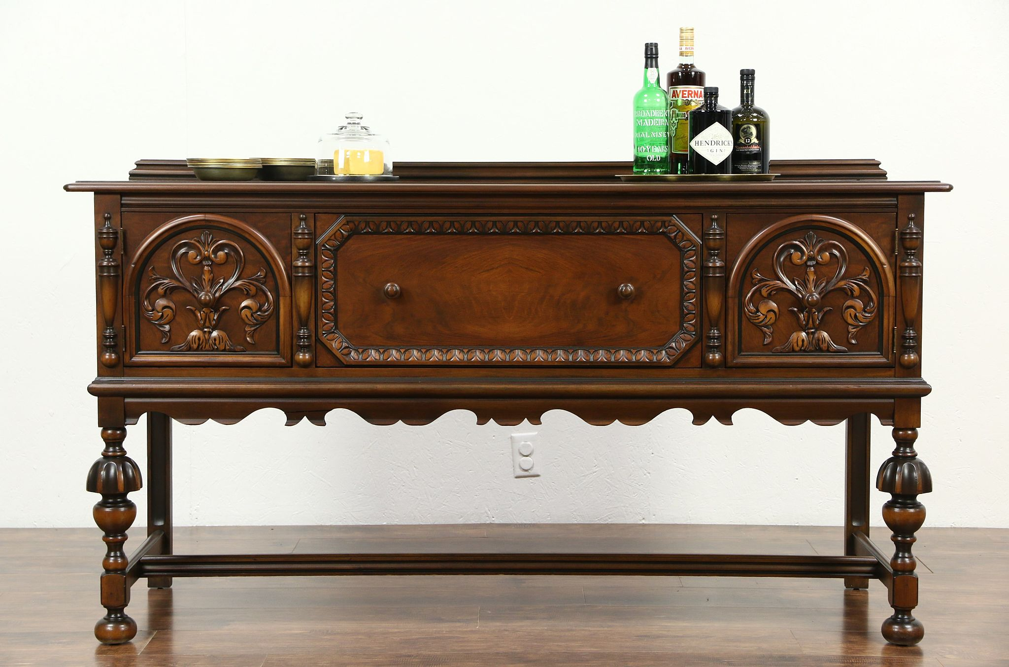 Antique buffet table furniture - Berkey Gay Signed 1925 Antique Tudor Style Sideboard Server