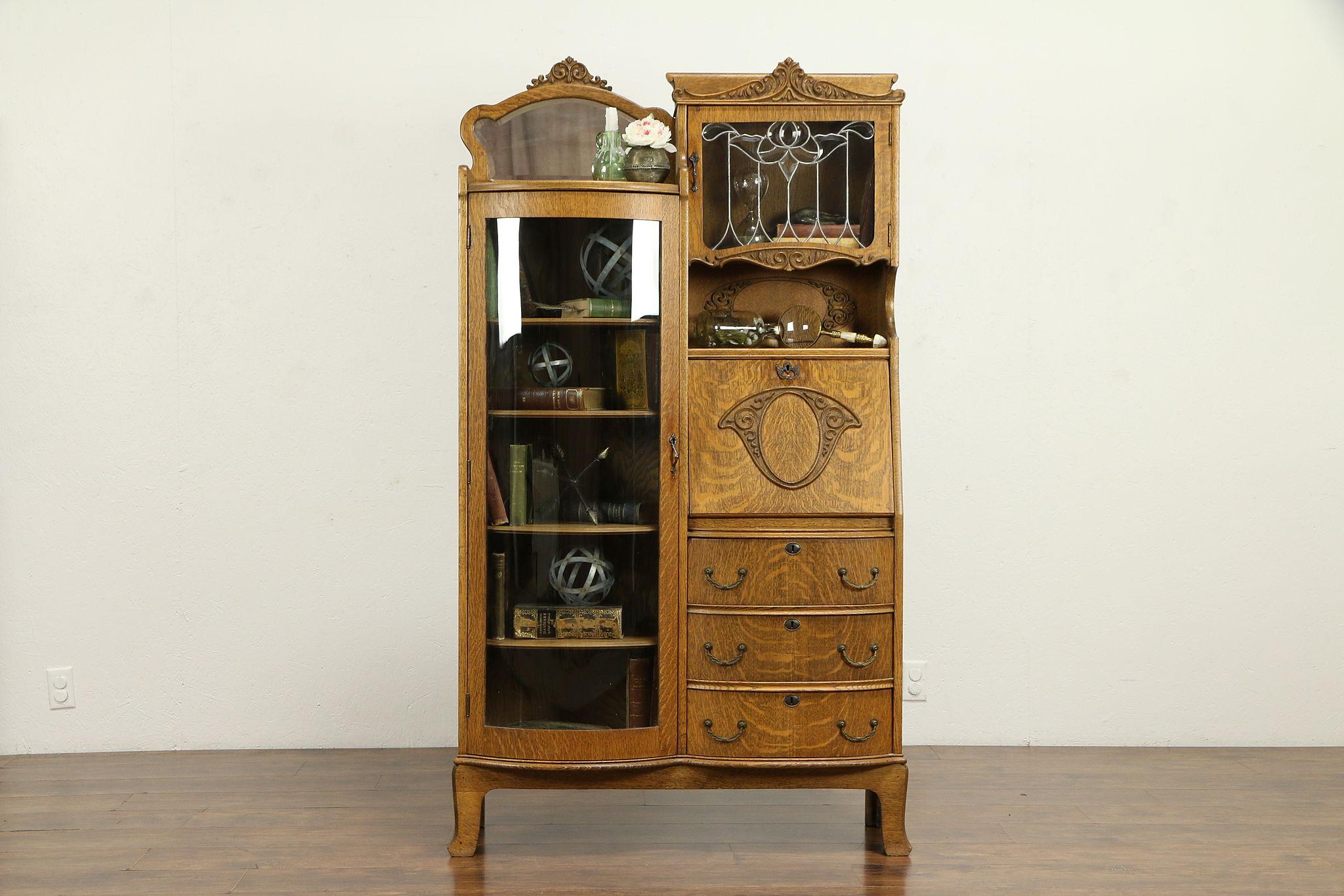 Victorian Antique Oak Side By Side Secretary Desk Bookcase Curved