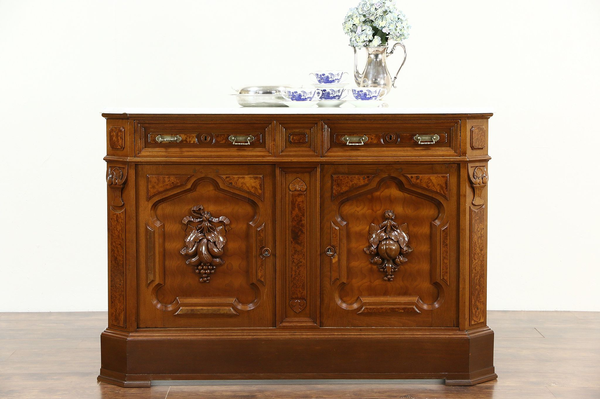 Antique Sideboard Buffet With Marble Top