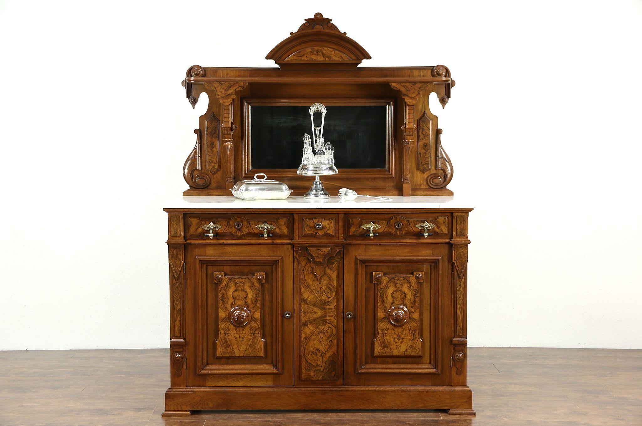 Victorian Renaissance 1875 Antique Sideboard Buffet Server Marble Top Mirror