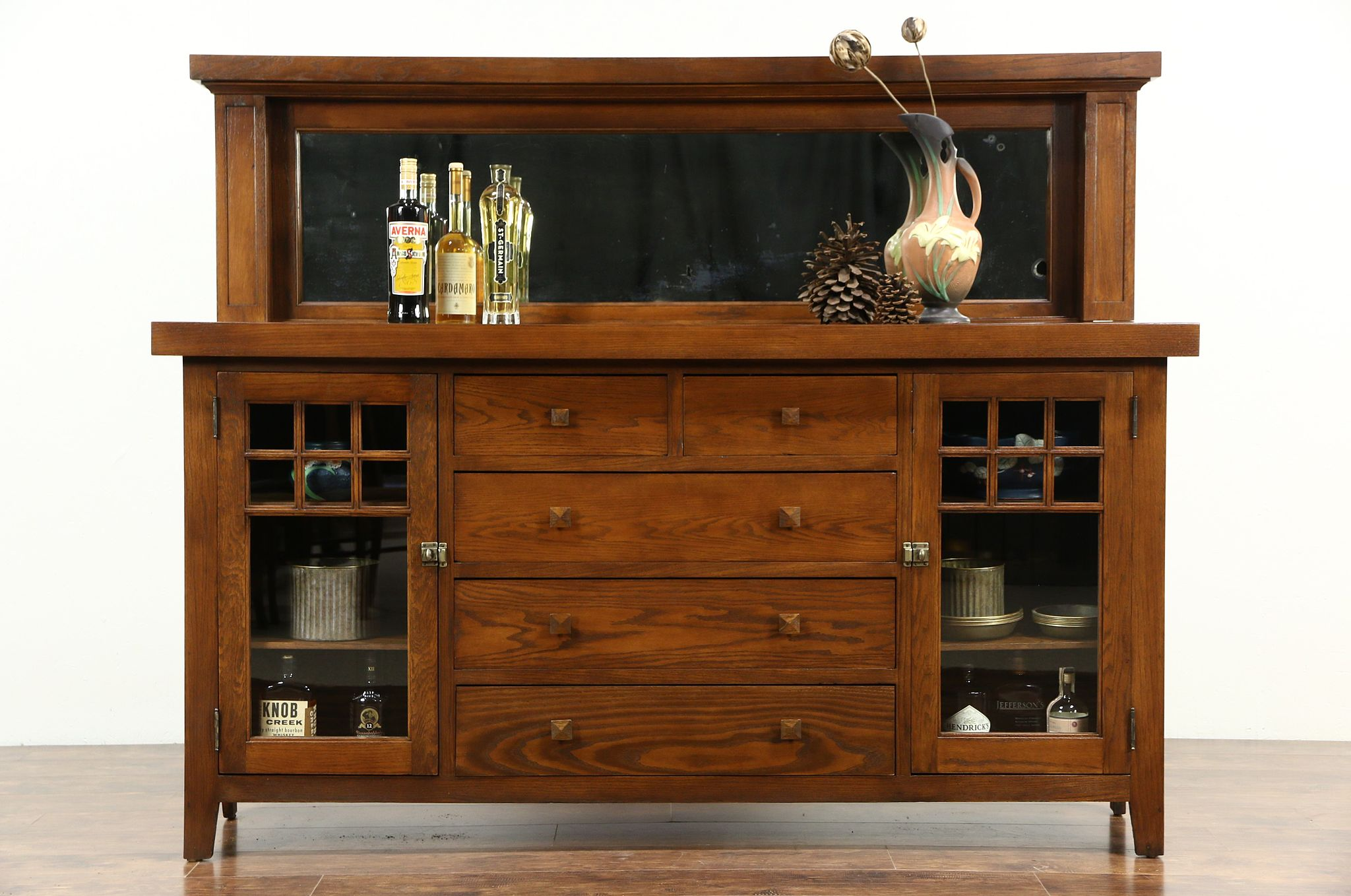 Antique arts and crafts furniture - Arts Crafts Mission Oak 1900 Antique Craftsman Sideboard Server